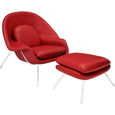 Wander Leather Lounge Chair Red