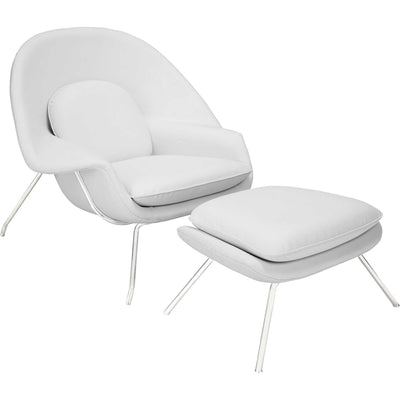 Wander Leather Lounge Chair White