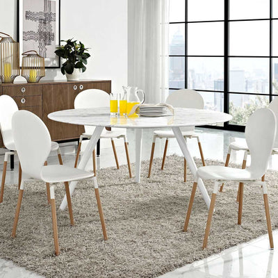 Lore Faux Marble Tripod Dining Table White