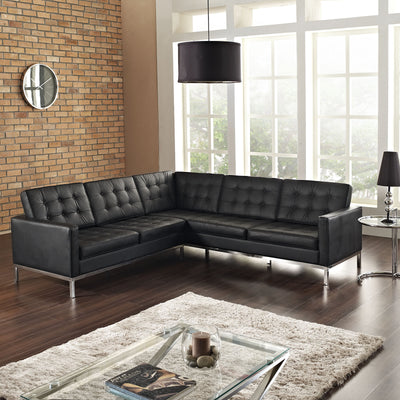 Lyte L-Shaped Leather Sectional Sofa Black