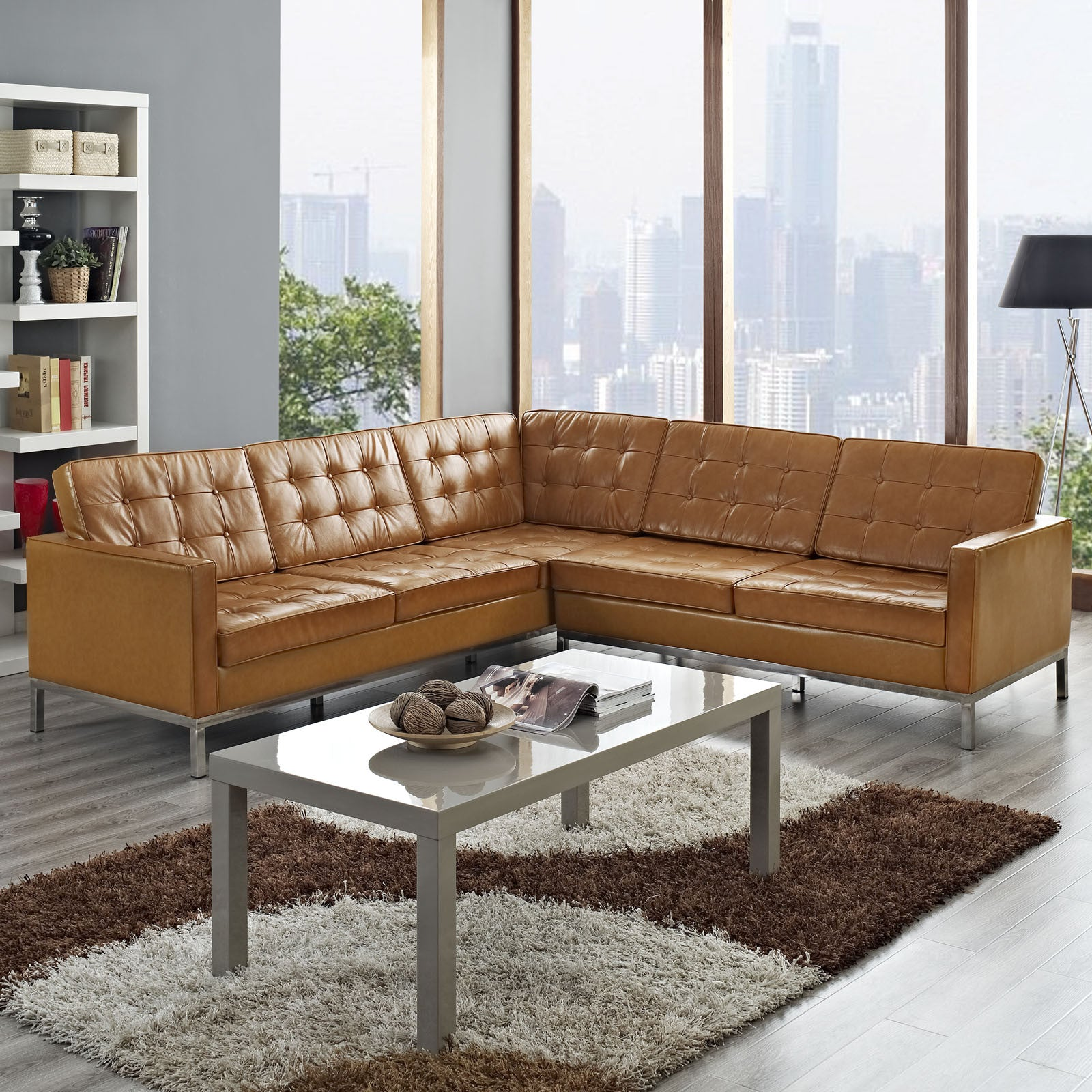 Lyte L Shaped Leather Sectional Sofa Tan FROY