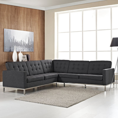 Lyte L-Shaped Wool Sectional Sofa Dark Gray