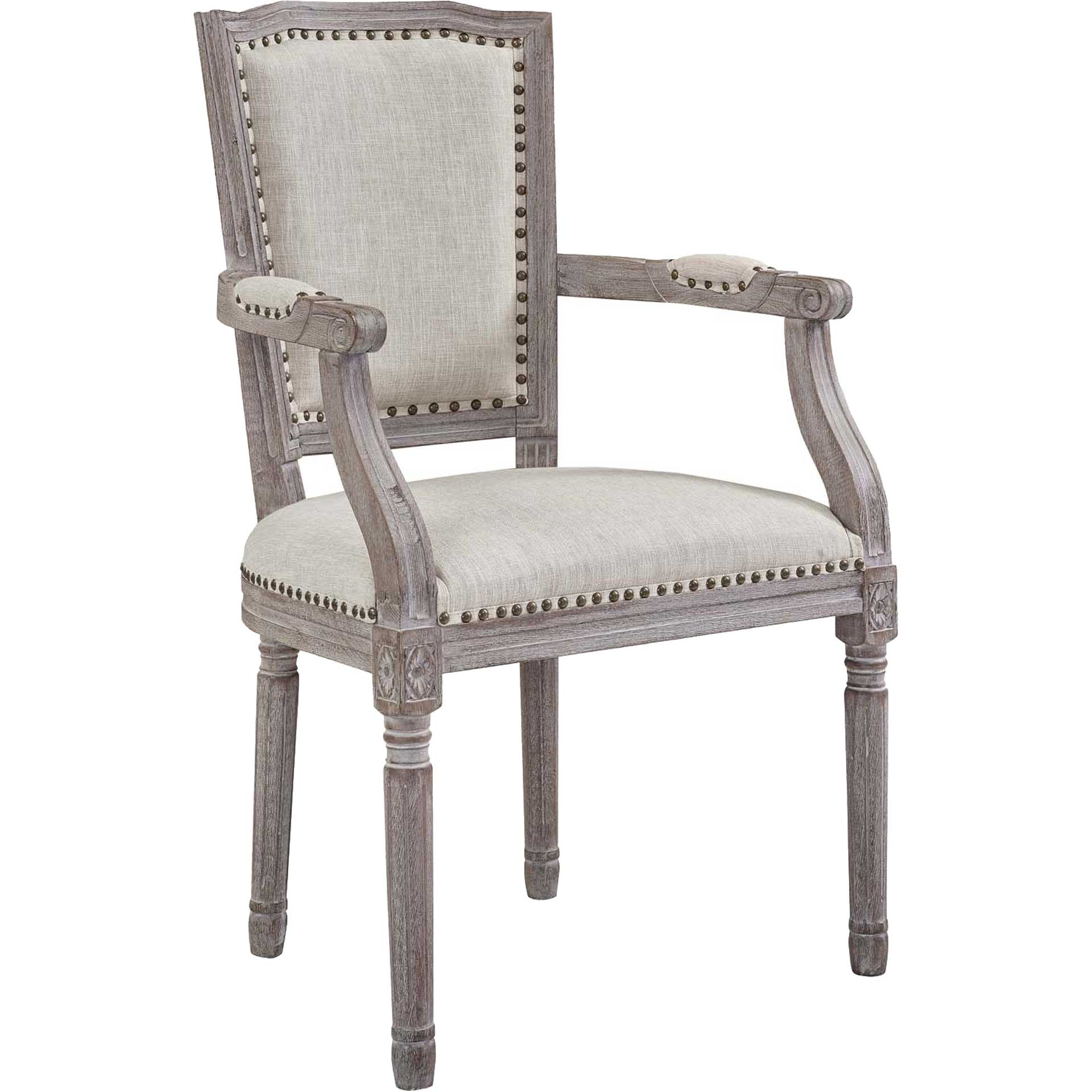 Poppy Upholstered Fabric Dining Armchair Beige