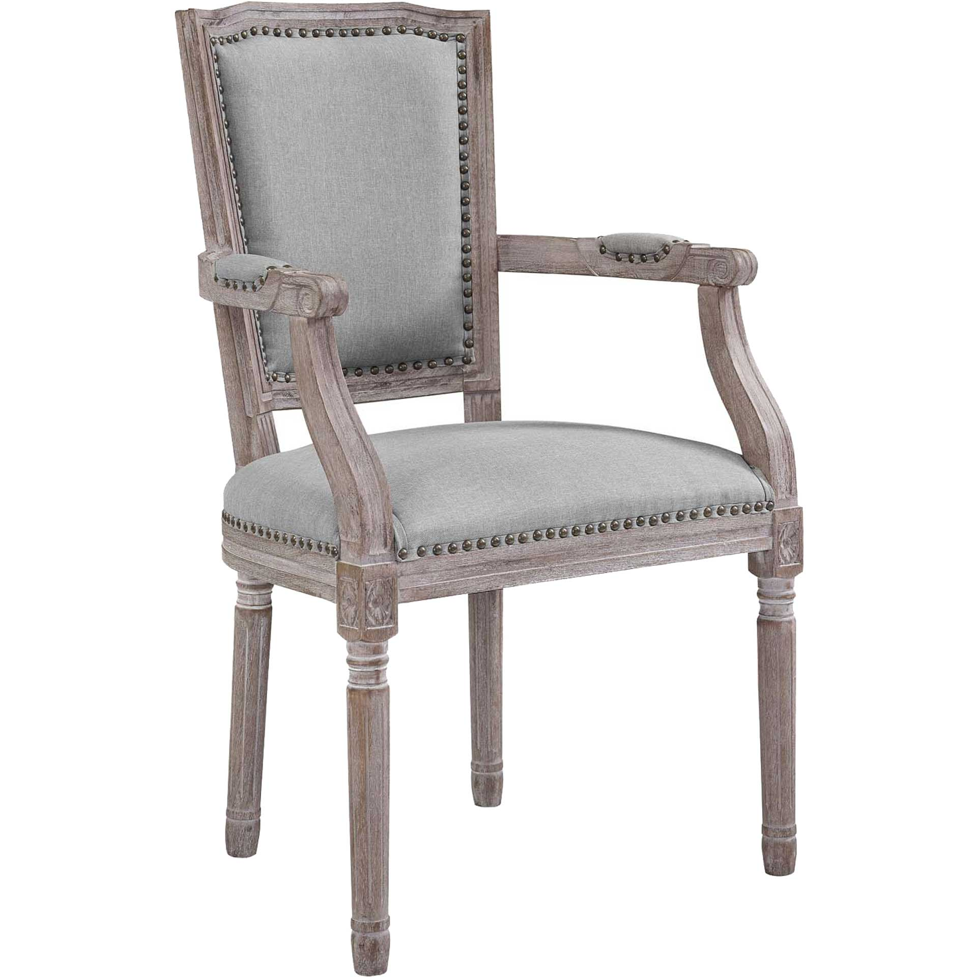 Poppy Upholstered Fabric Dining Armchair Light Gray