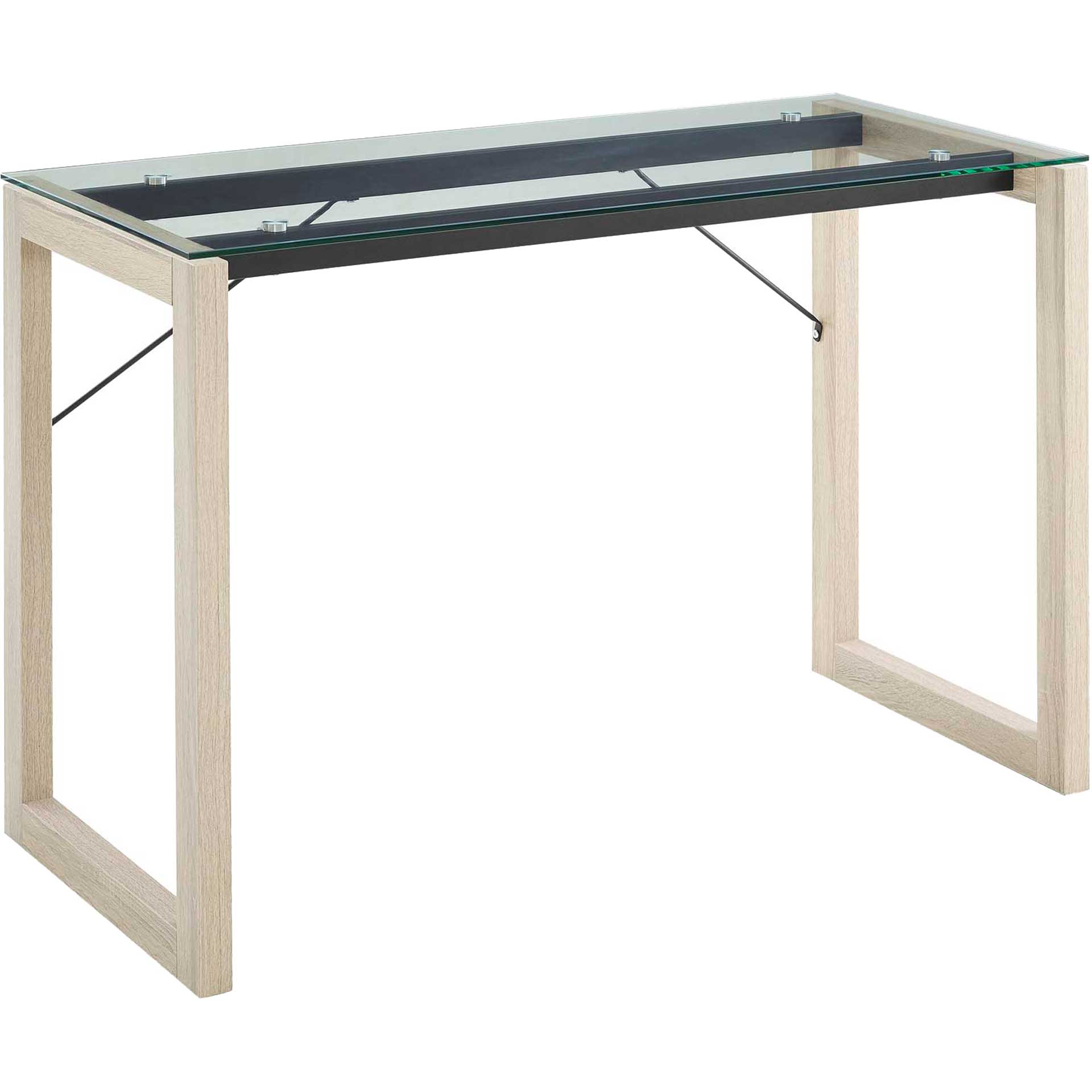Madeline Glass Top Writing Desk Natural Clear