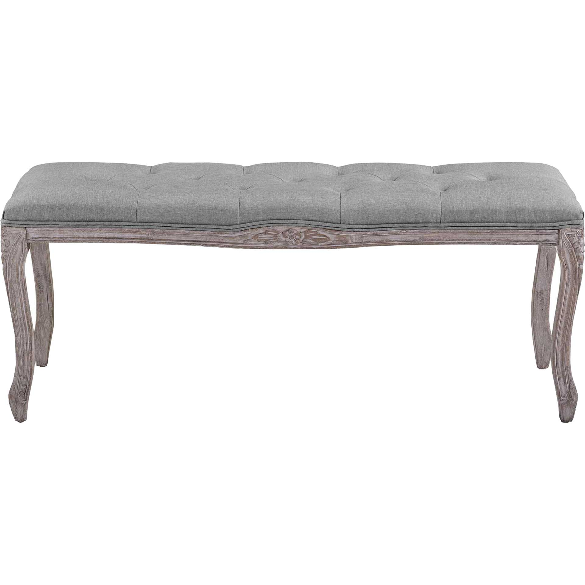Ridge Upholstered Fabric Bench Light Gray