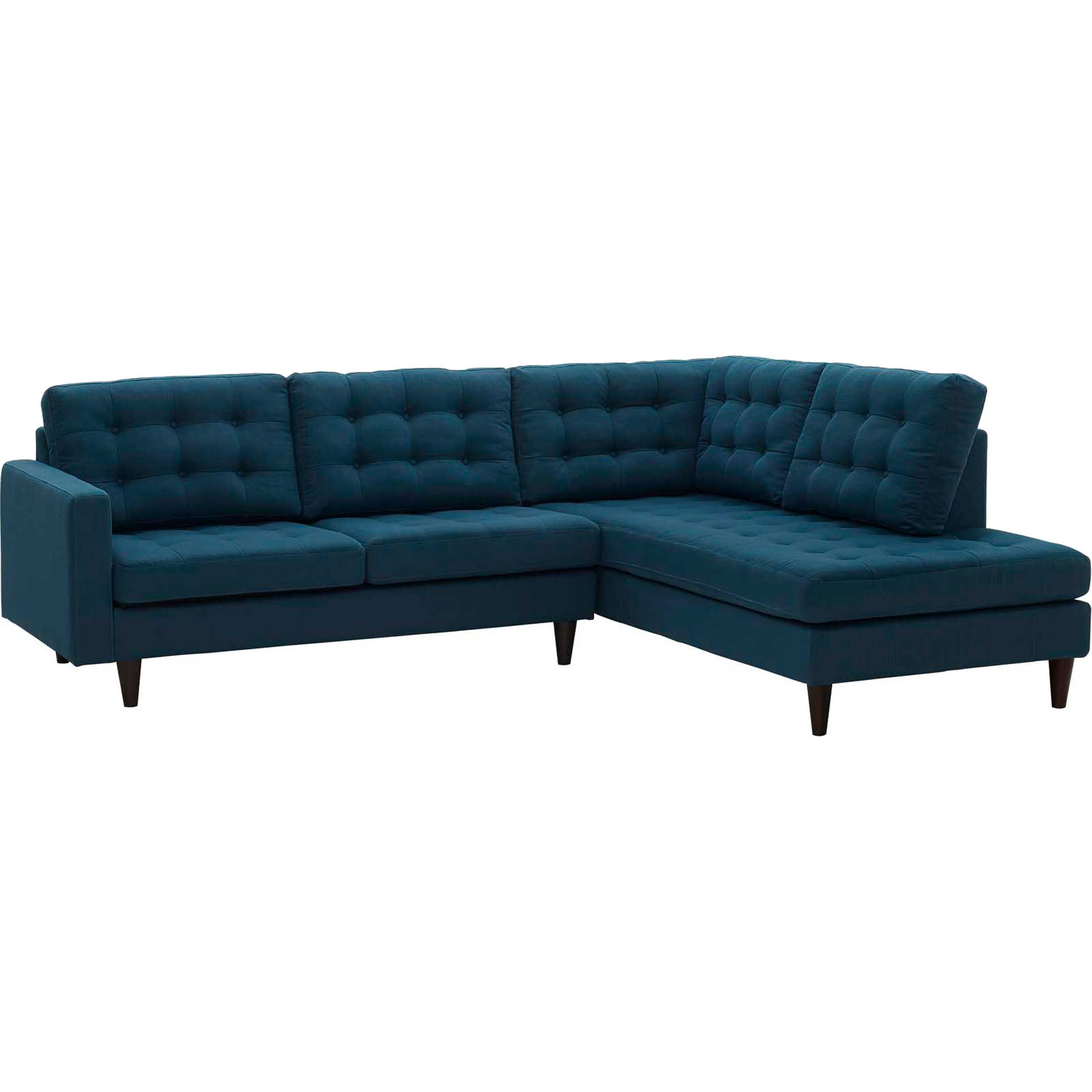Era Upholstered Fabric Bumper Sectional Azure