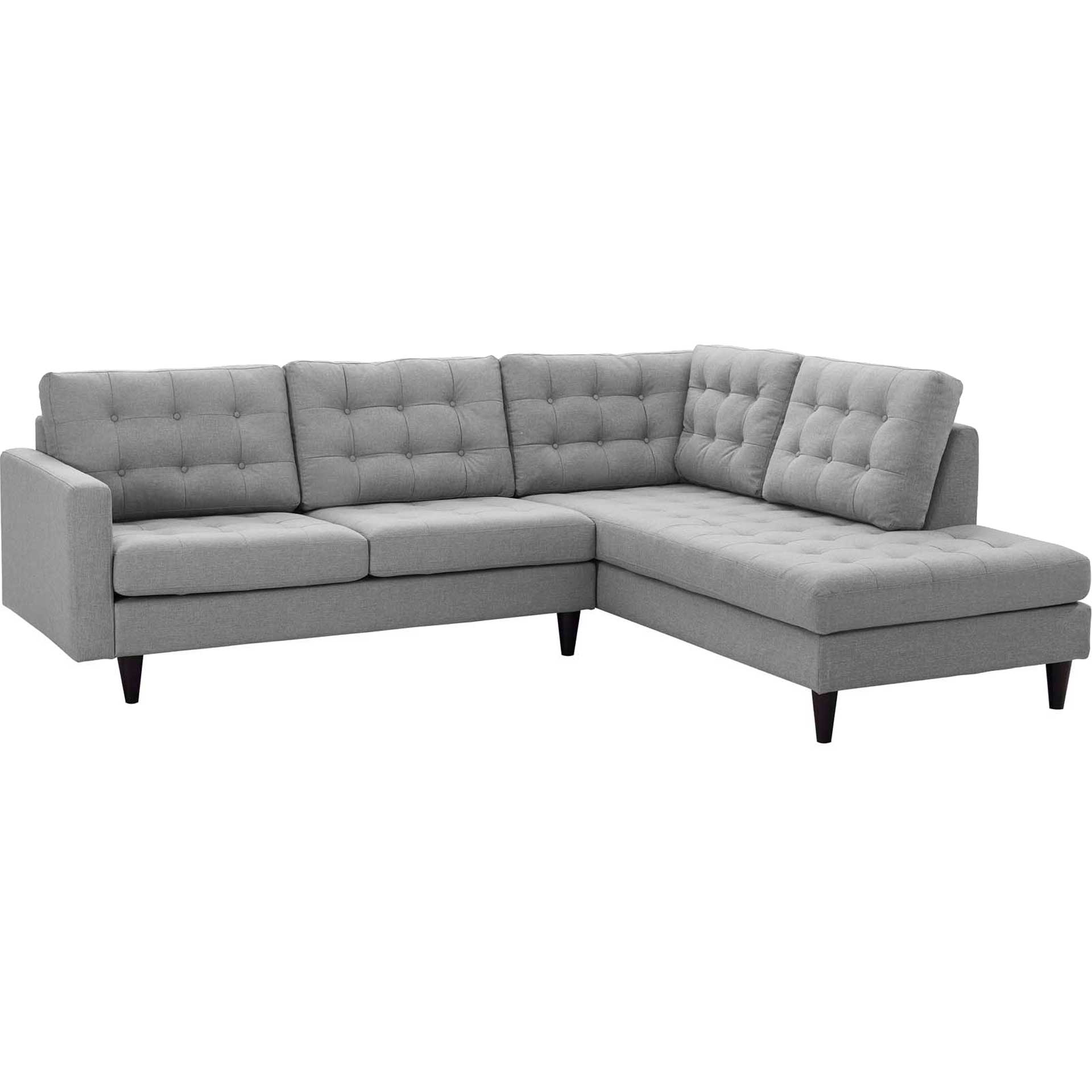 Era Upholstered Fabric Bumper Sectional Light Gray
