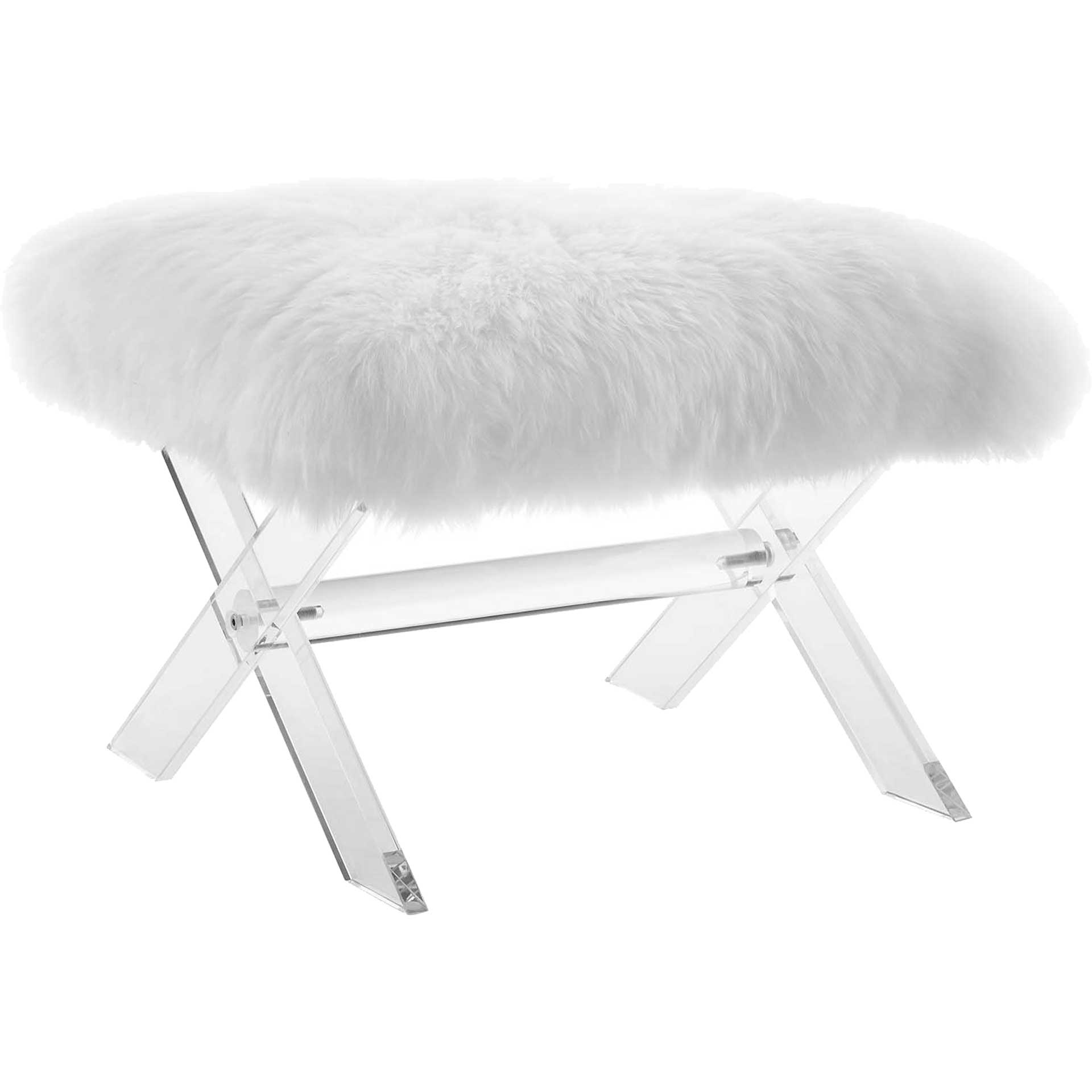Sloan Sheepskin Bench Clear White
