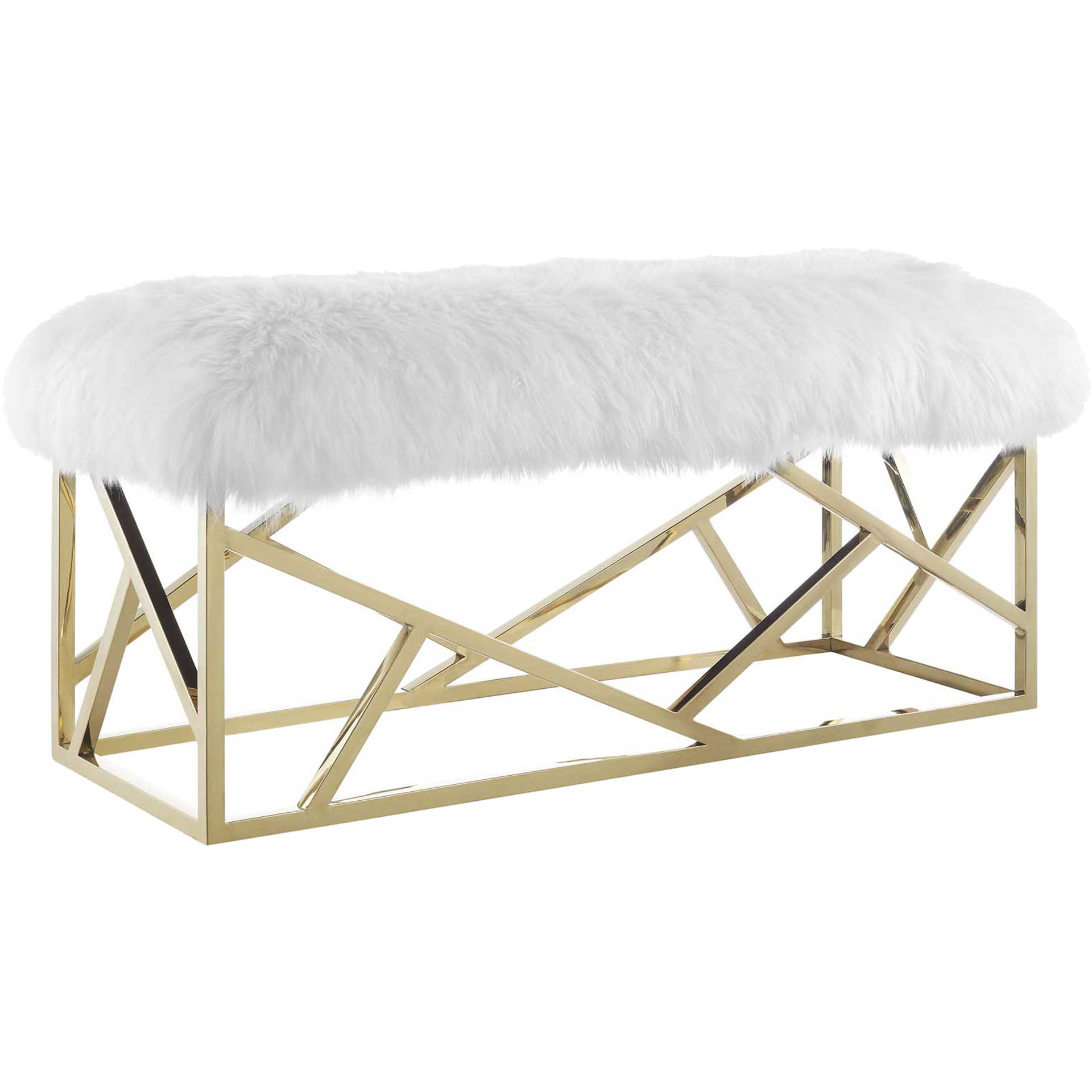 Ismael Sheepskin Bench Gold/White