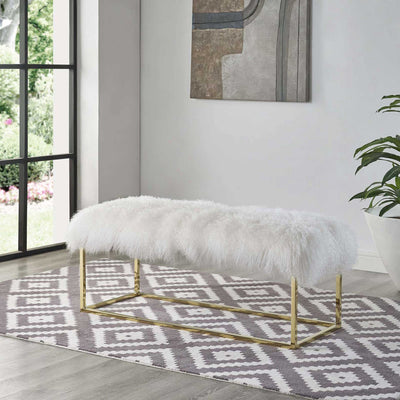 Alden White Sheepskin Bench Gold