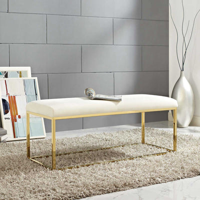 Alden Fabric Bench Gold/Ivory