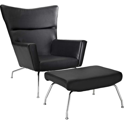 Clarell Leather Lounge Chair Black