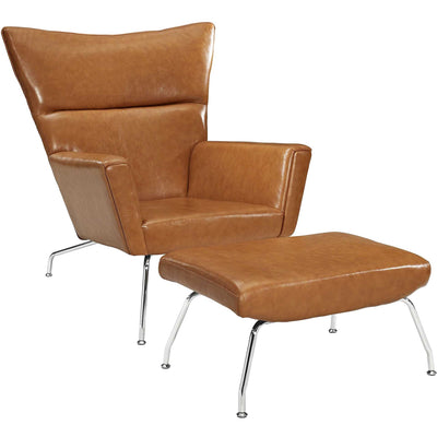 Clarell Leather Lounge Chair Tan