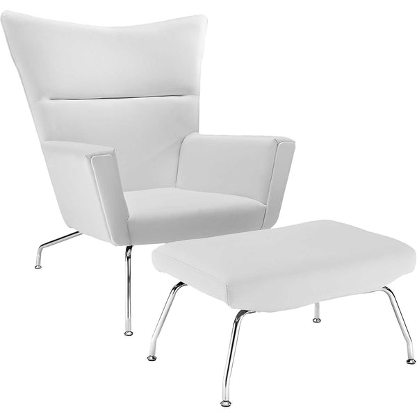 Clarell Leather Lounge Chair White Froy Com