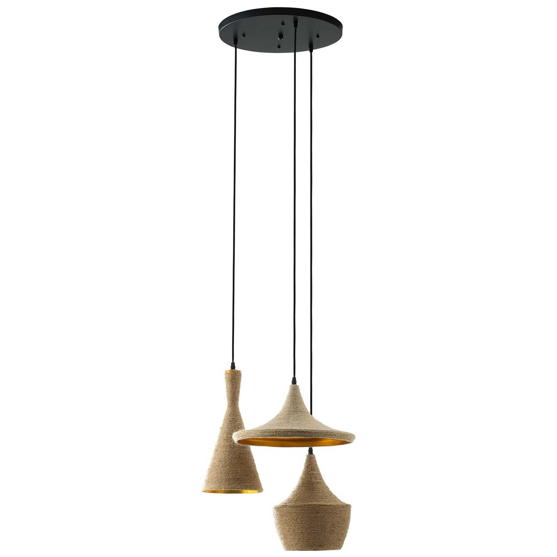 Monserrat 3 Pendant Light Ceiling Fixture Gold