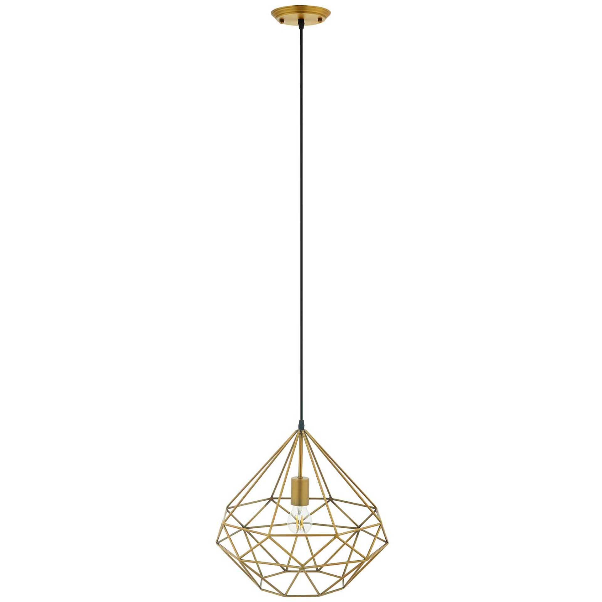 Ryder Diamond-Shaped Pendant Light Brass Gold