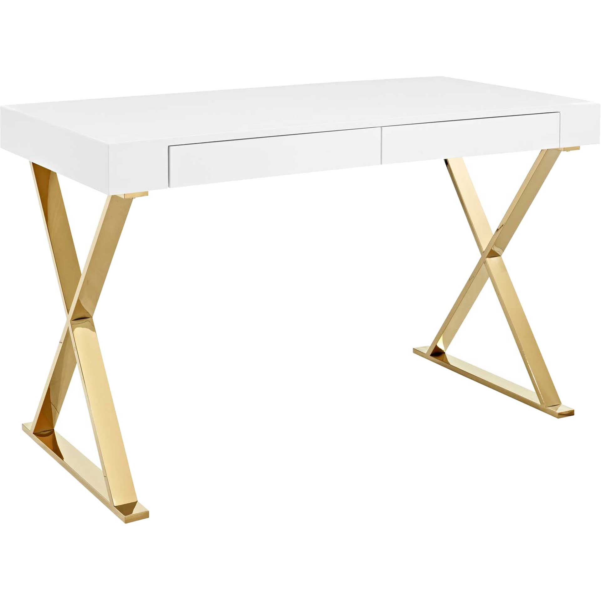 Section Office Desk White/Gold