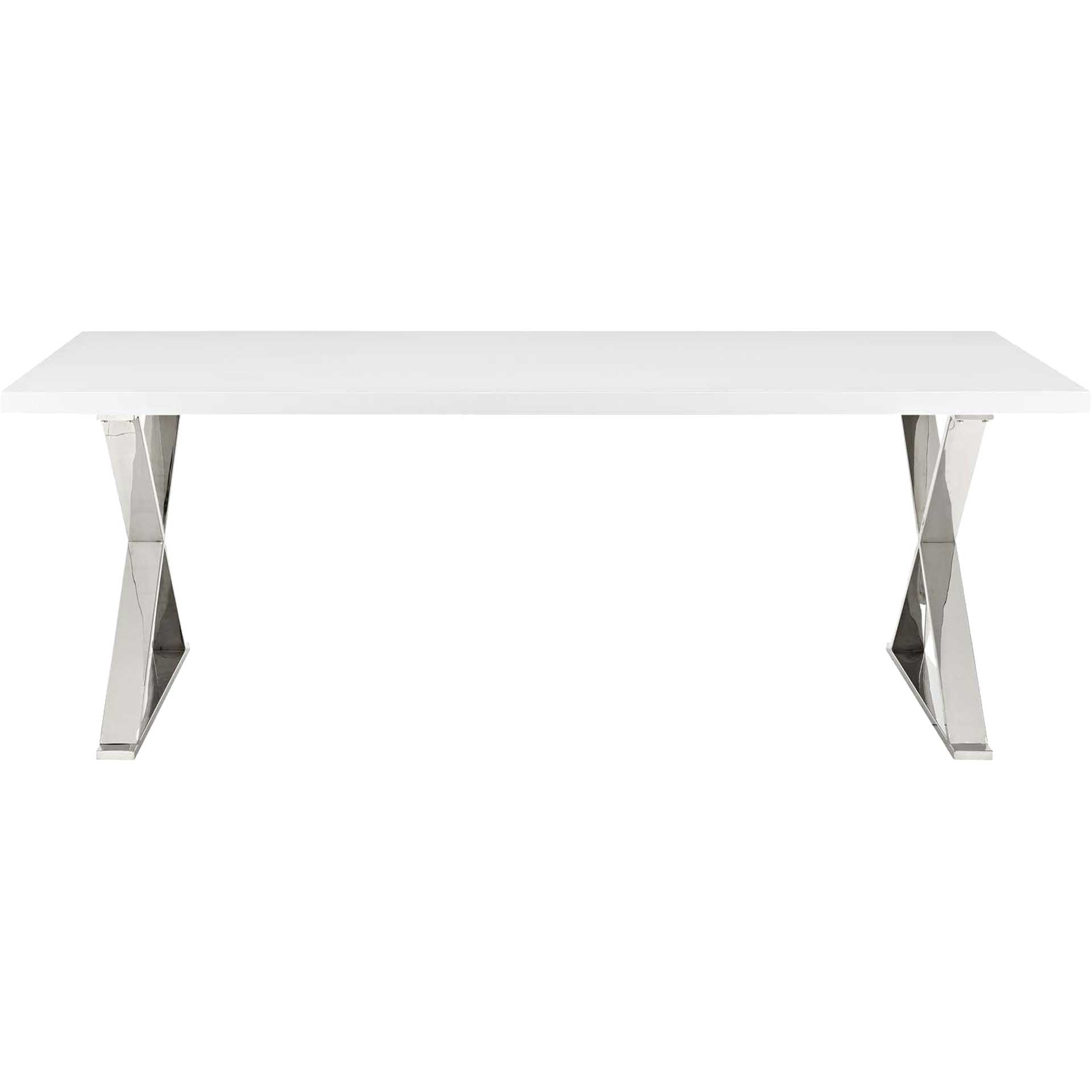 Section Dining Table White Silver