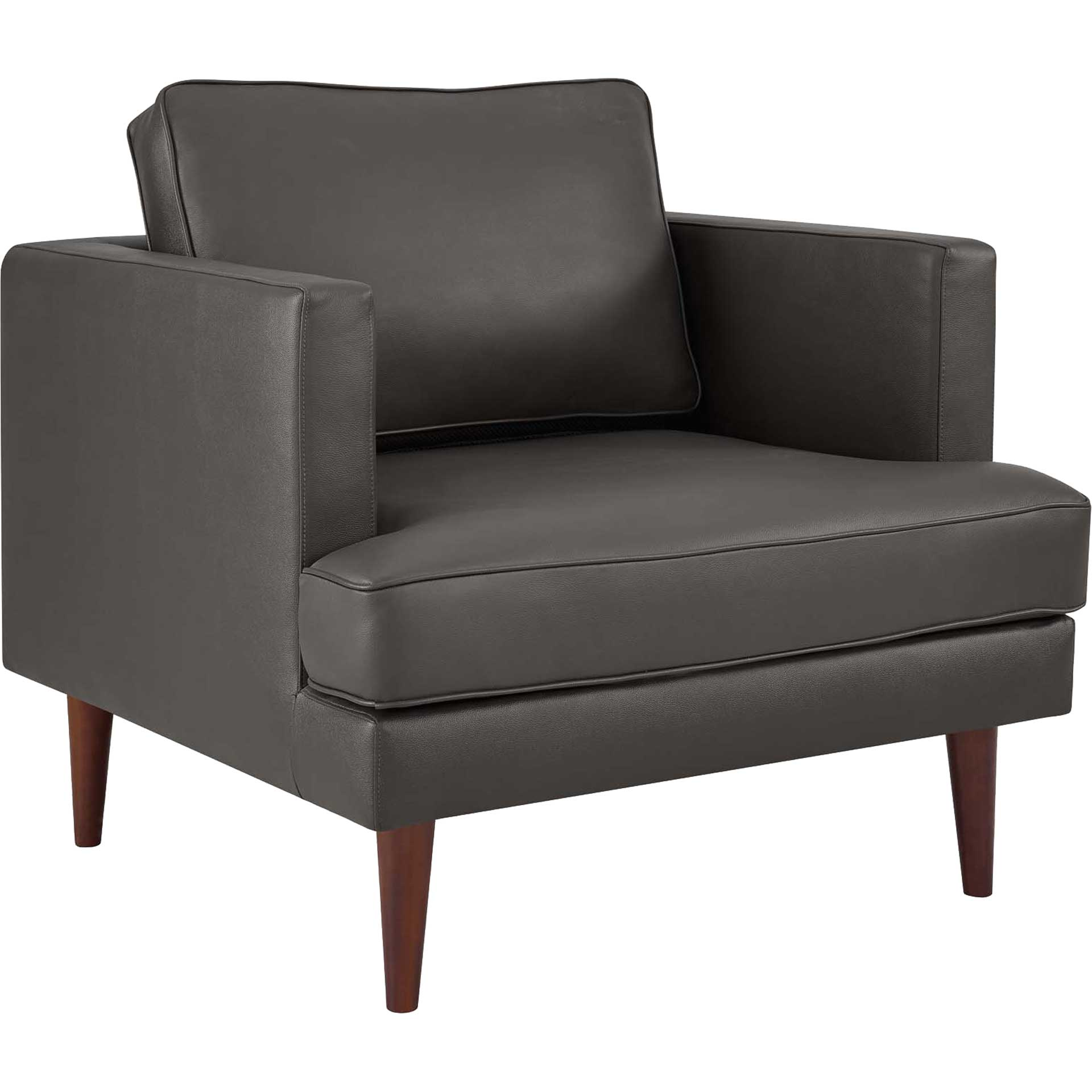 Aisley Leather Armchair Gray