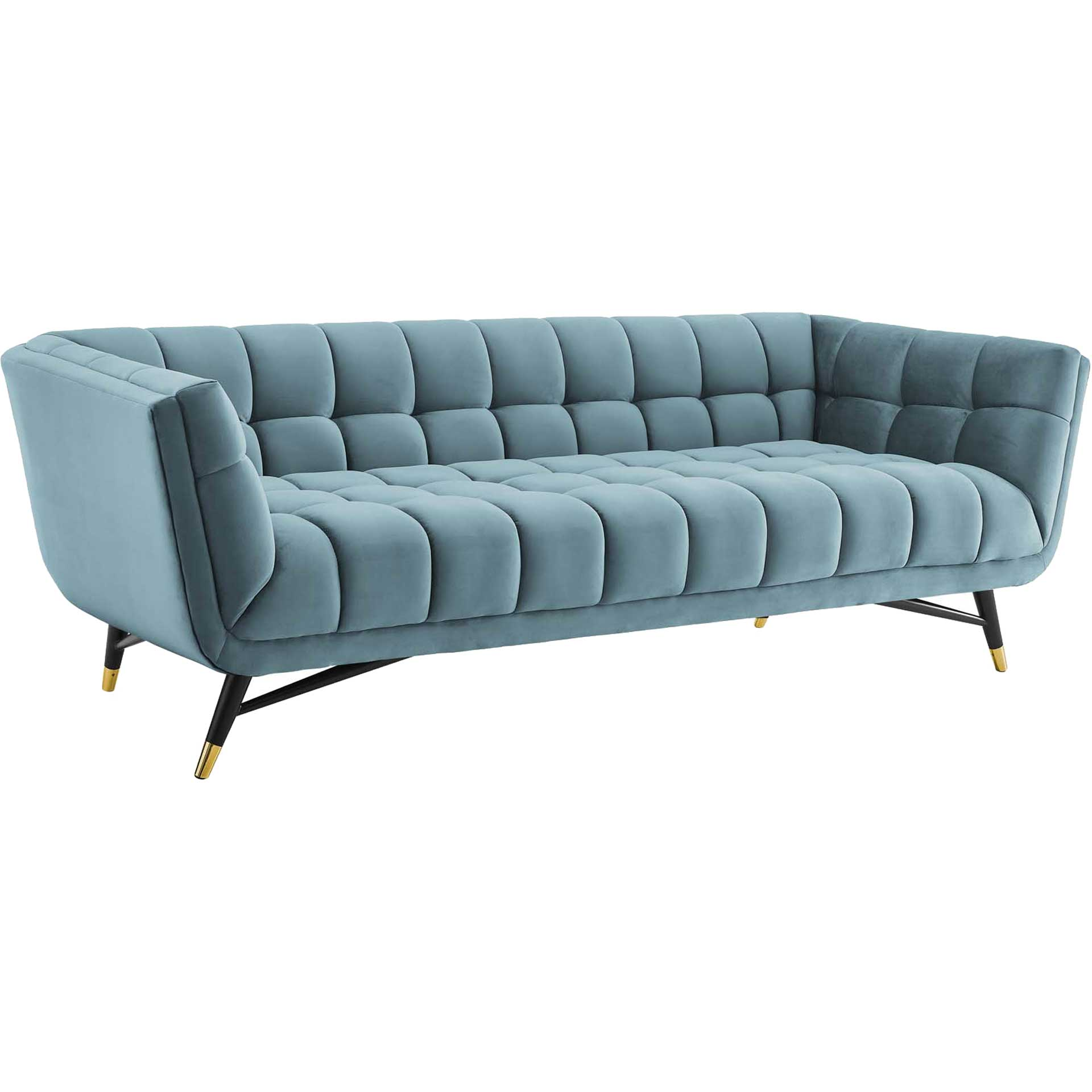 Adrianna Upholstered Velvet Sofa Sea Blue