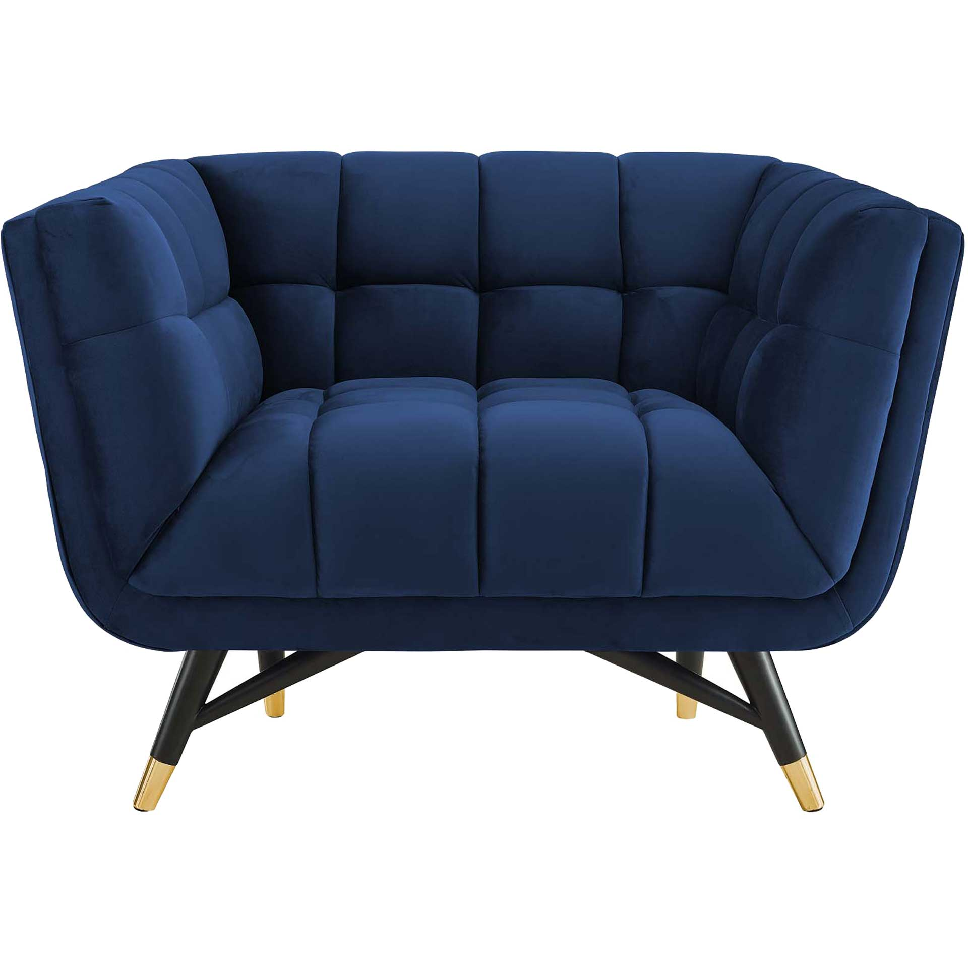 Adrianna Upholstered Velvet Armchair Midnight Blue