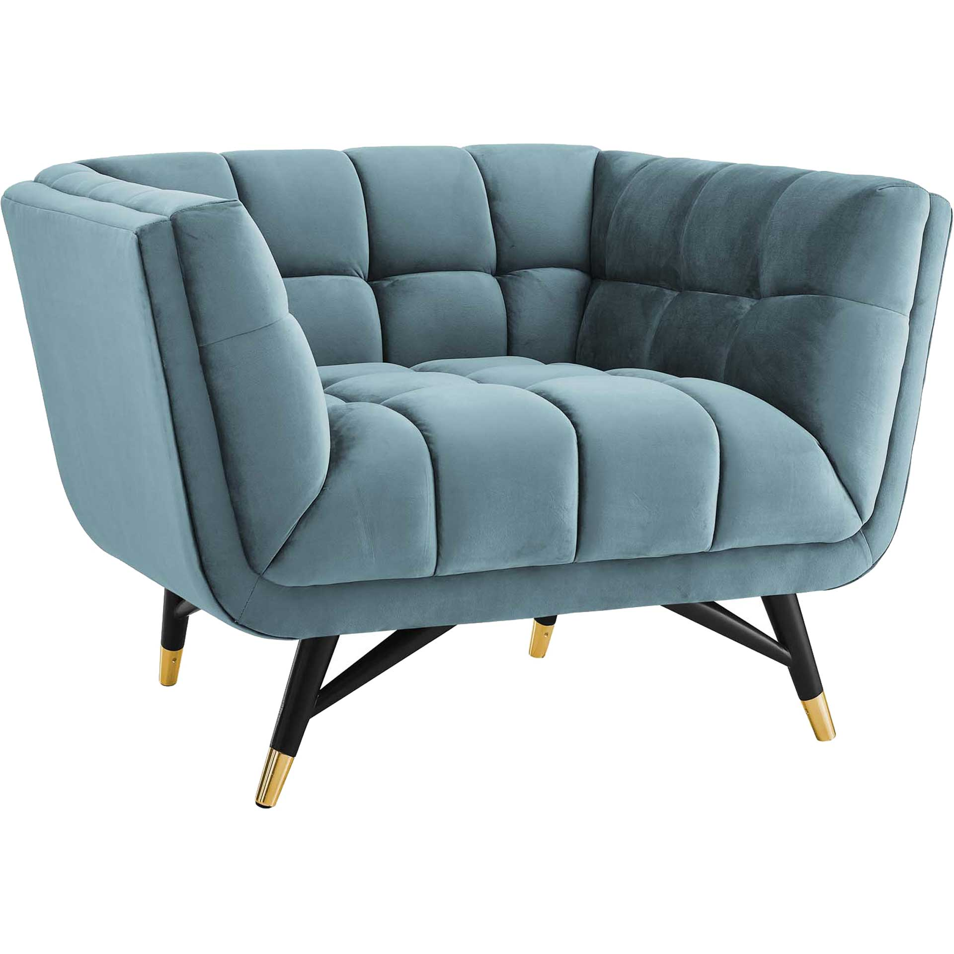 Adrianna Upholstered Velvet Armchair Sea Blue