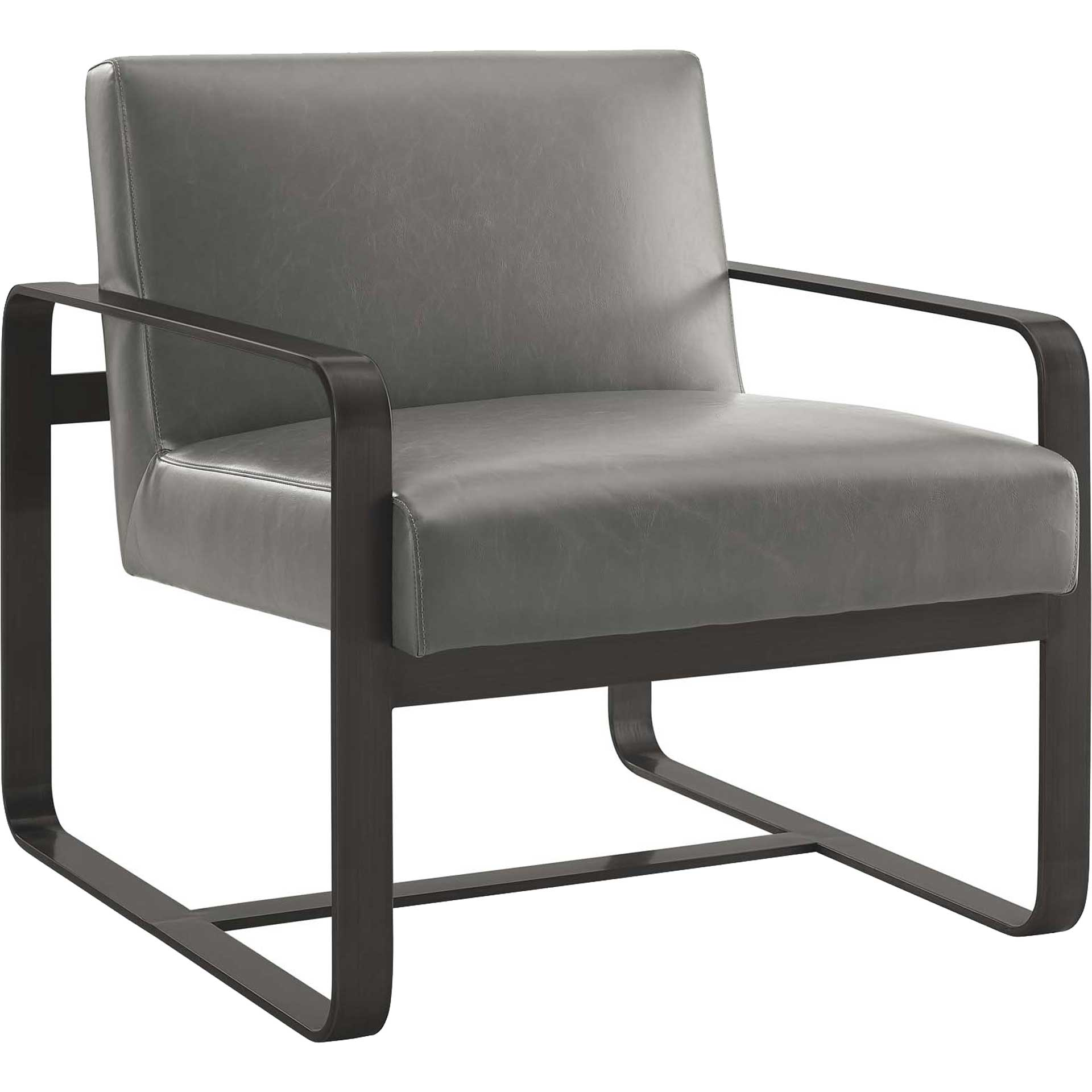 Abdiel Leather Armchair Gray