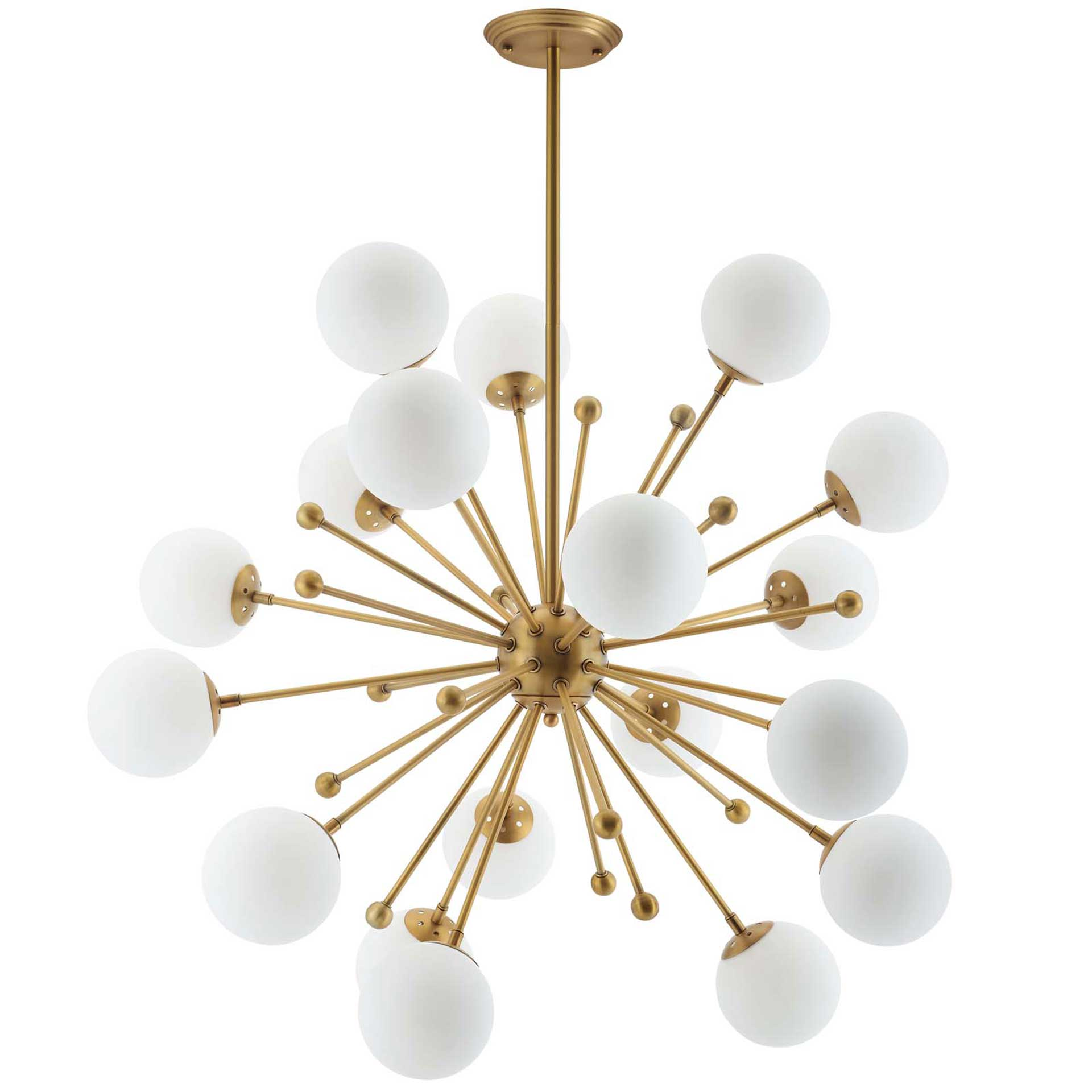 Caroline White Glass Chandelier White/Brass Gold