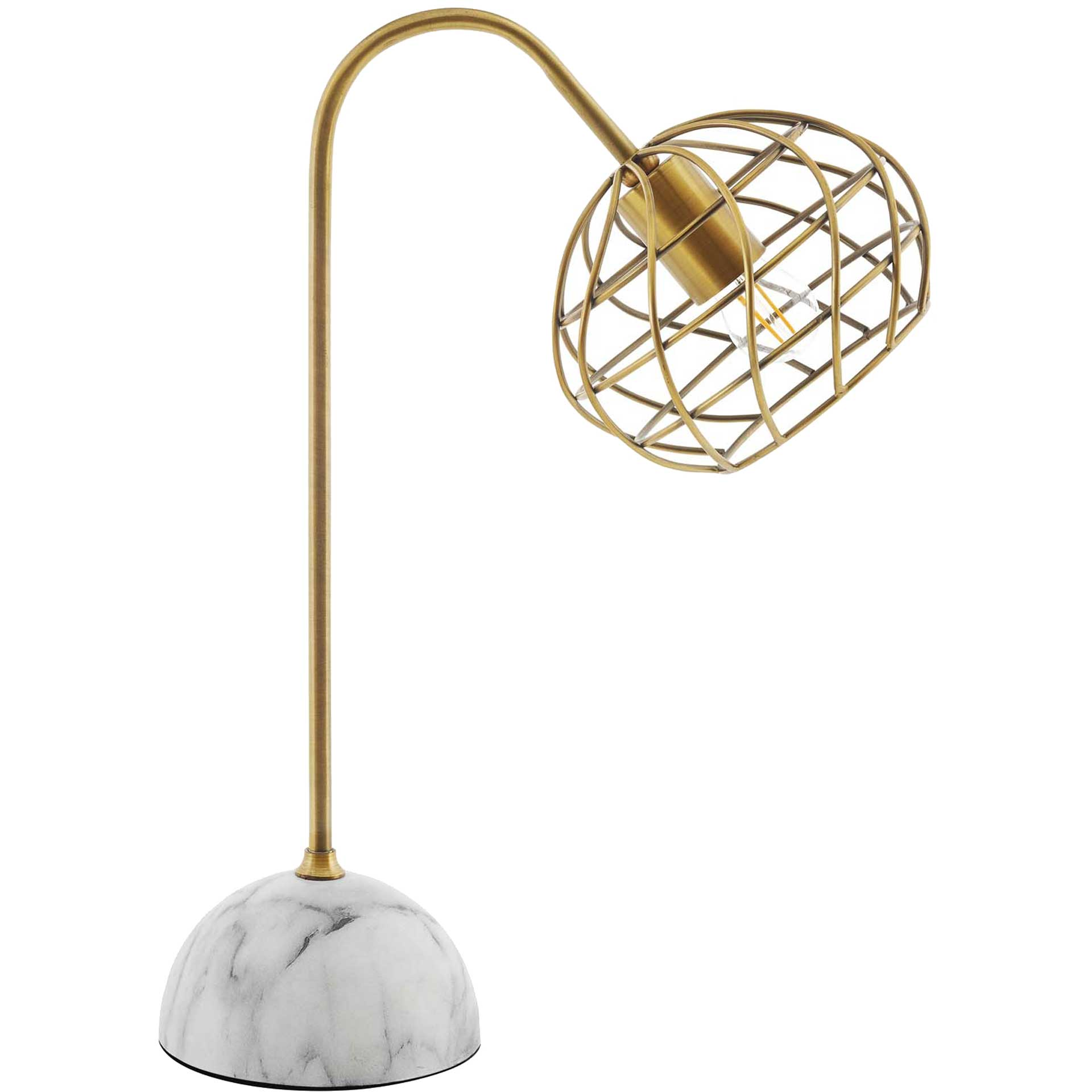 Sandy White Marble Table Lamp Brass Gold/White