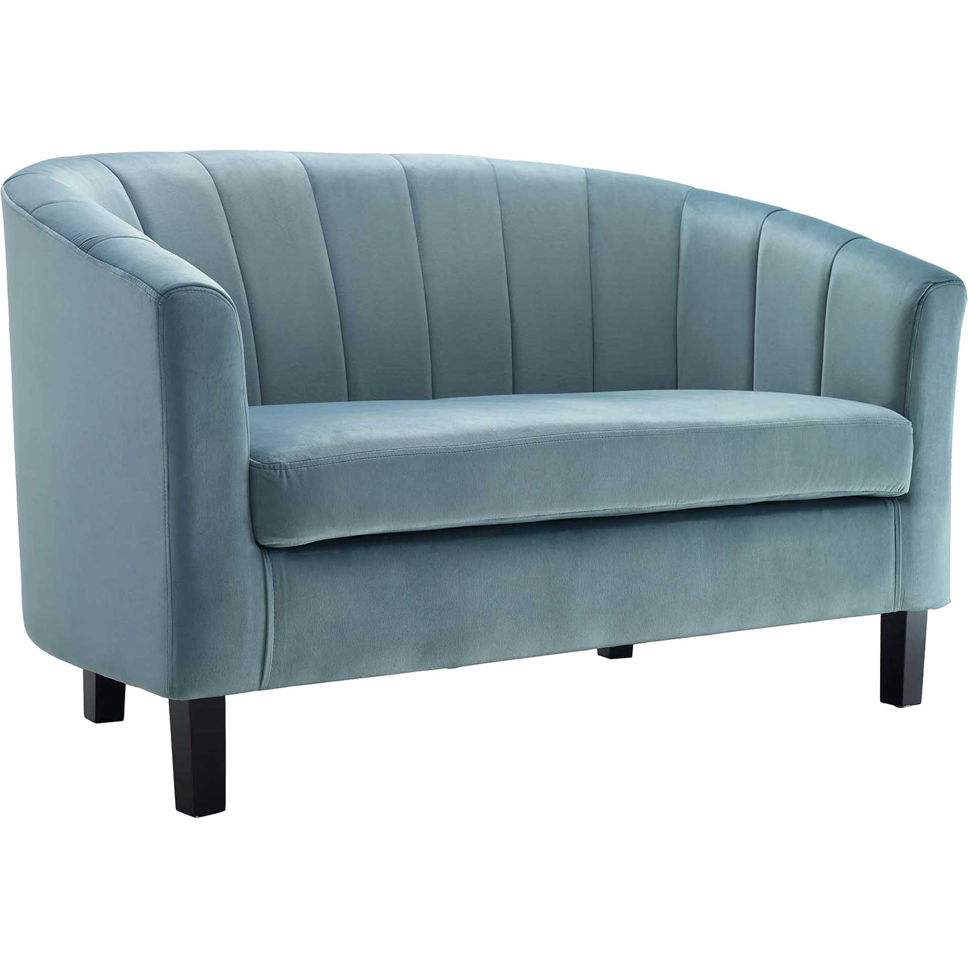 Paloma Channel Tufted Velvet Sofa Light Blue