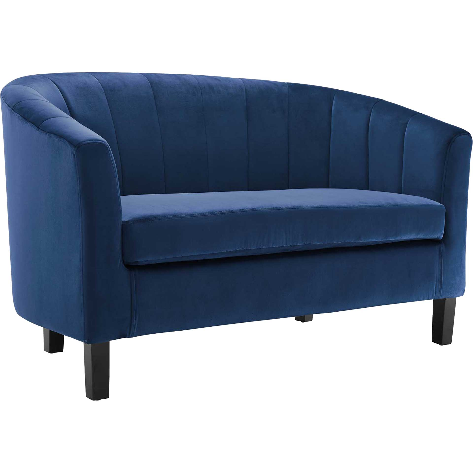 Paloma Channel Tufted Velvet Sofa Navy