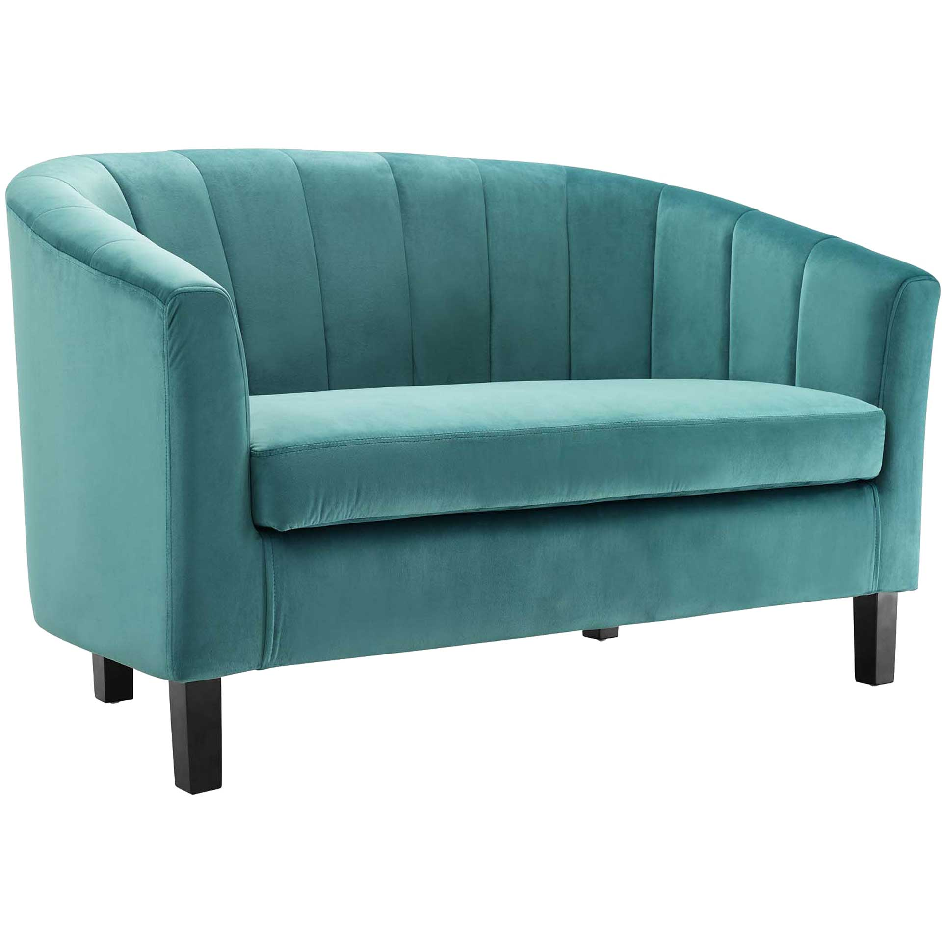 Paloma Channel Tufted Velvet Sofa Teal