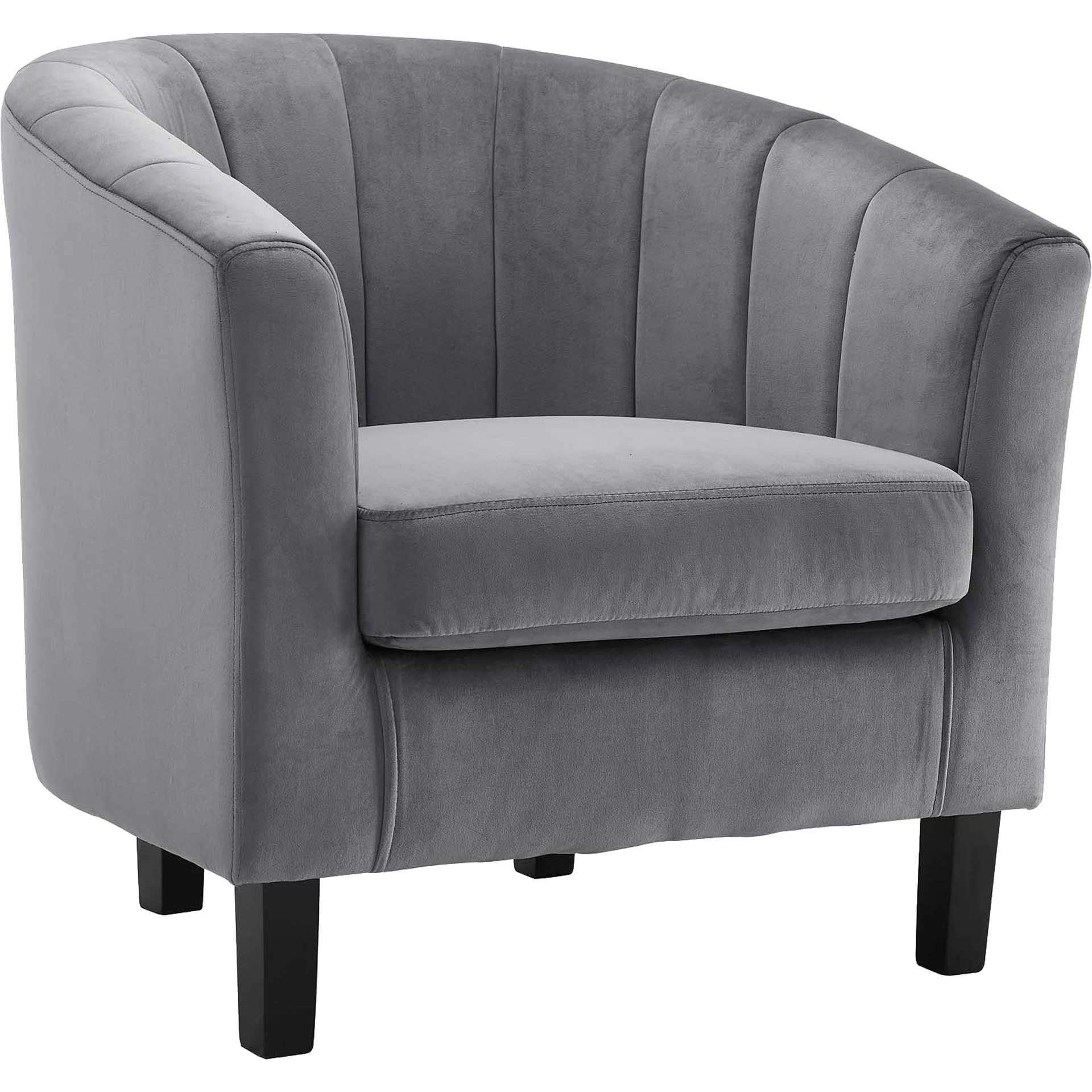 Paloma Channel Tufted Velvet Armchair Gray