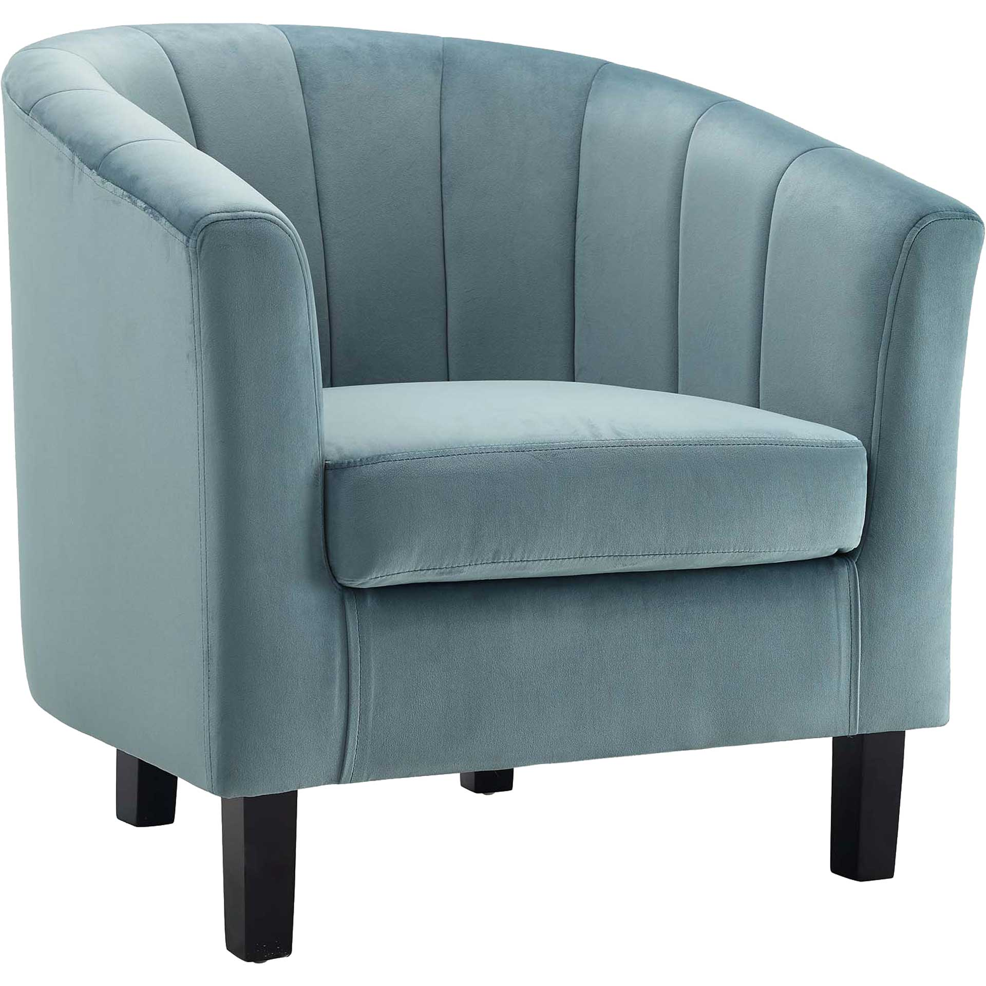 Paloma Channel Tufted Velvet Armchair Light Blue