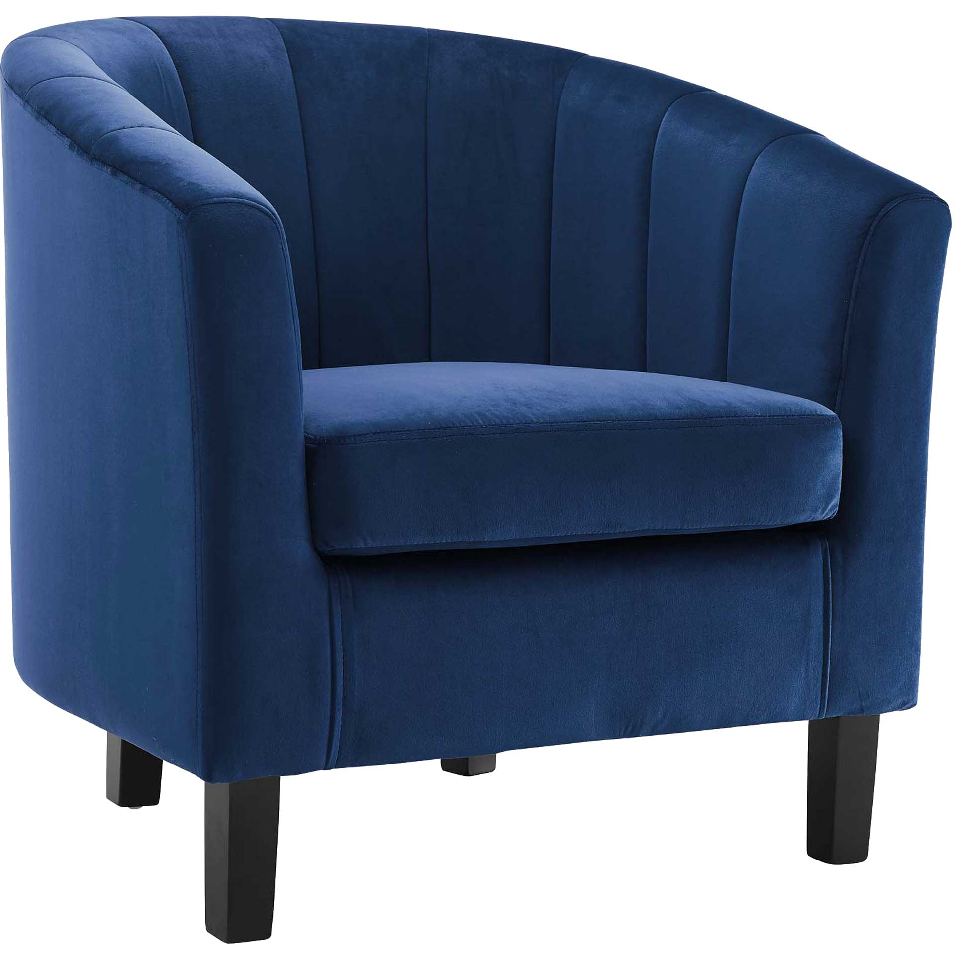 Paloma Channel Tufted Velvet Armchair Navy