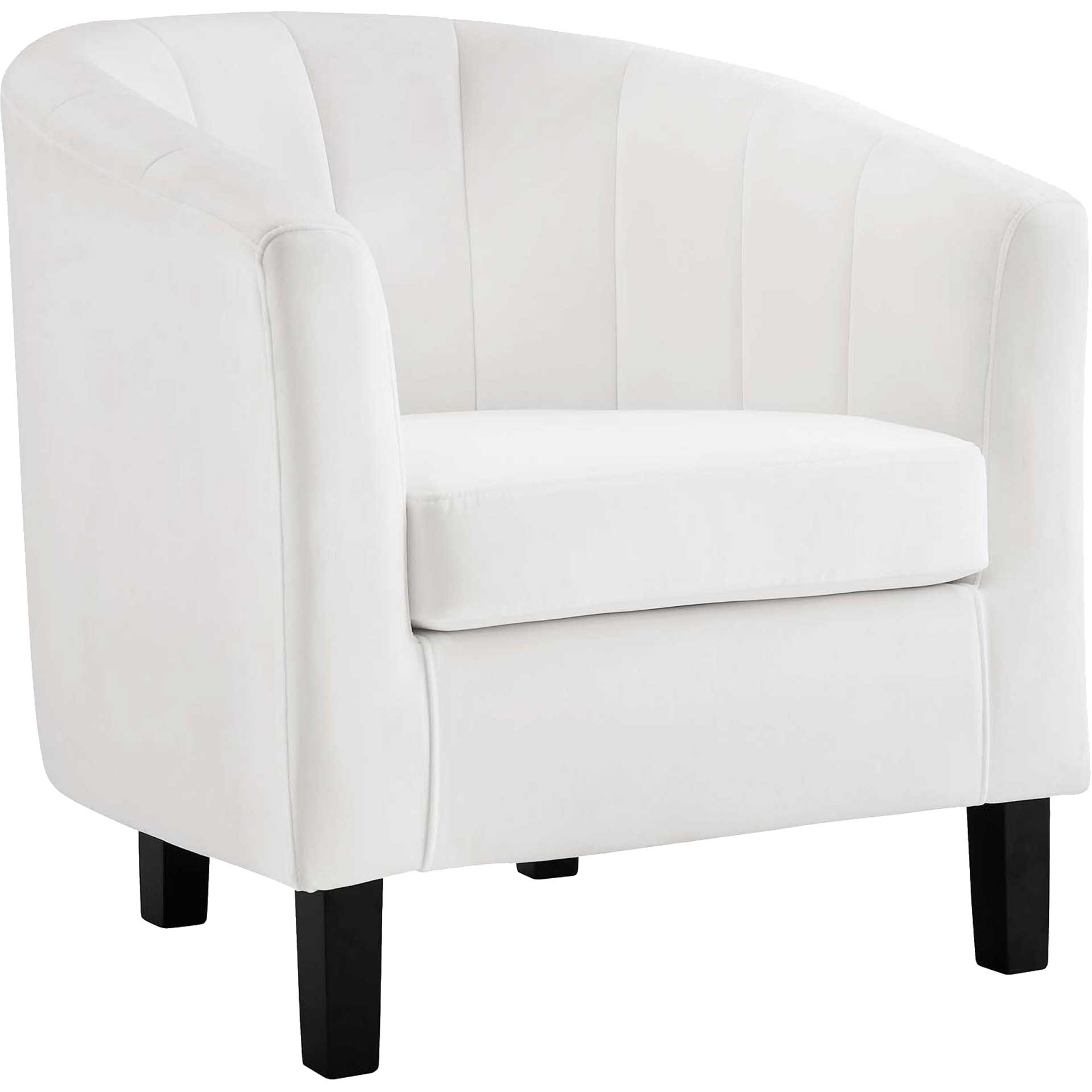 Paloma Channel Tufted Velvet Armchair White