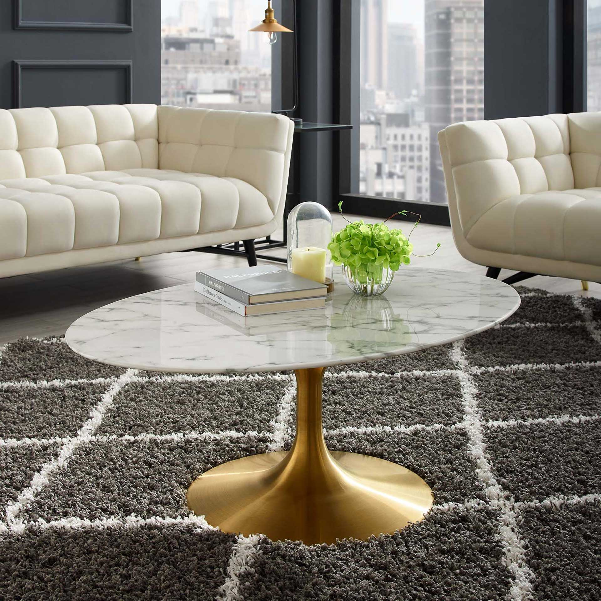 Lore Oval Coffee Table Gold/White Marble