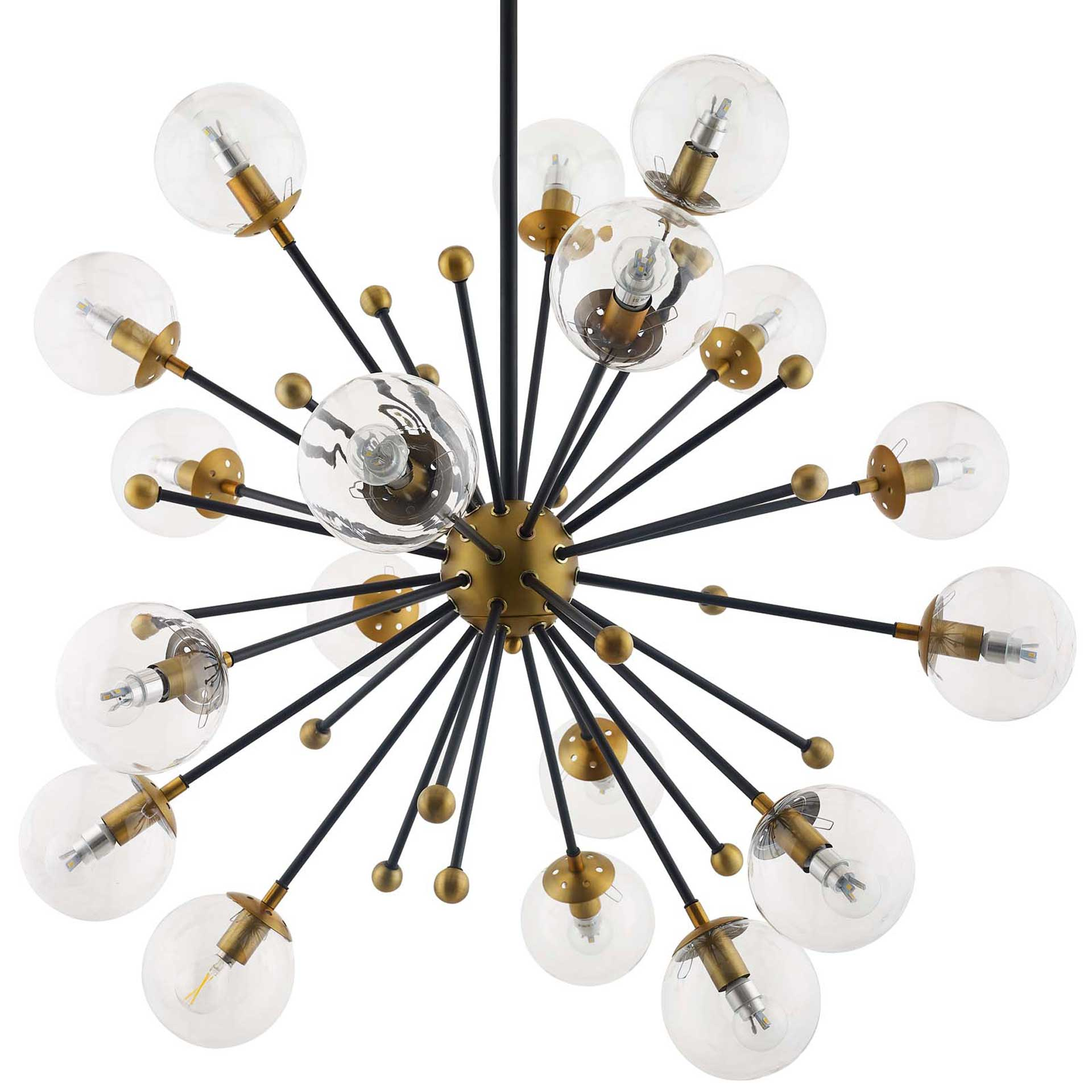 Caroline Clear Glass Chandelier Brass Gold/Black