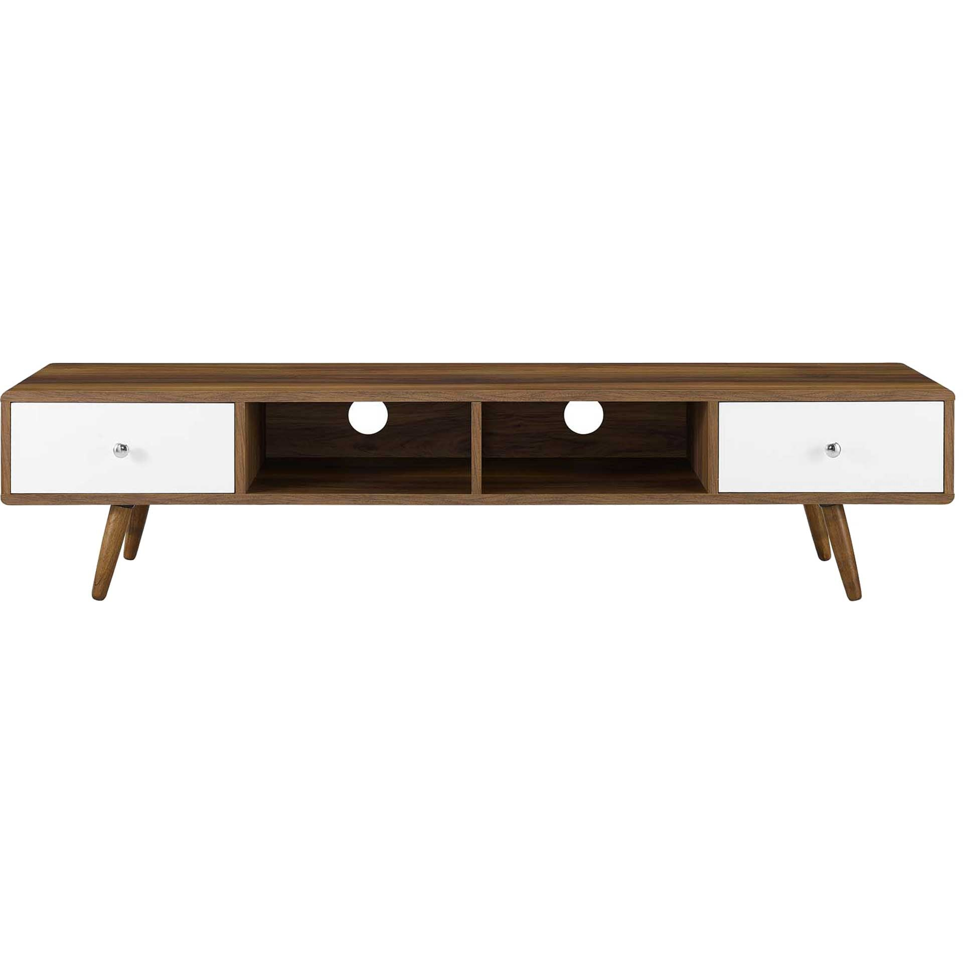 Tiffin Media Console TV Stand Walnut/White