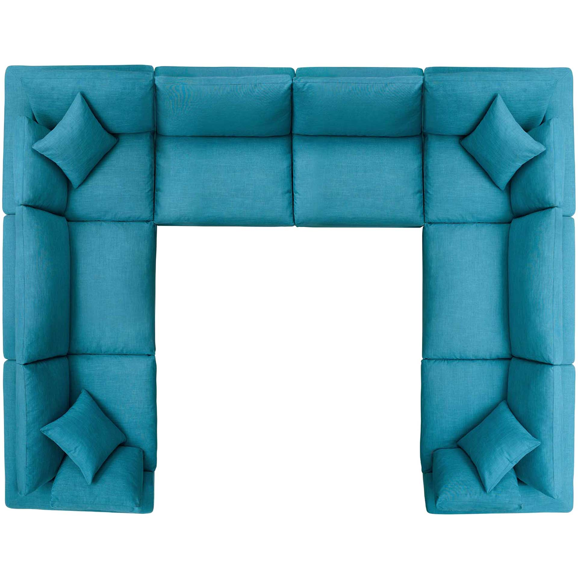 Carmen U-Shaped Sectional Sofa Teal