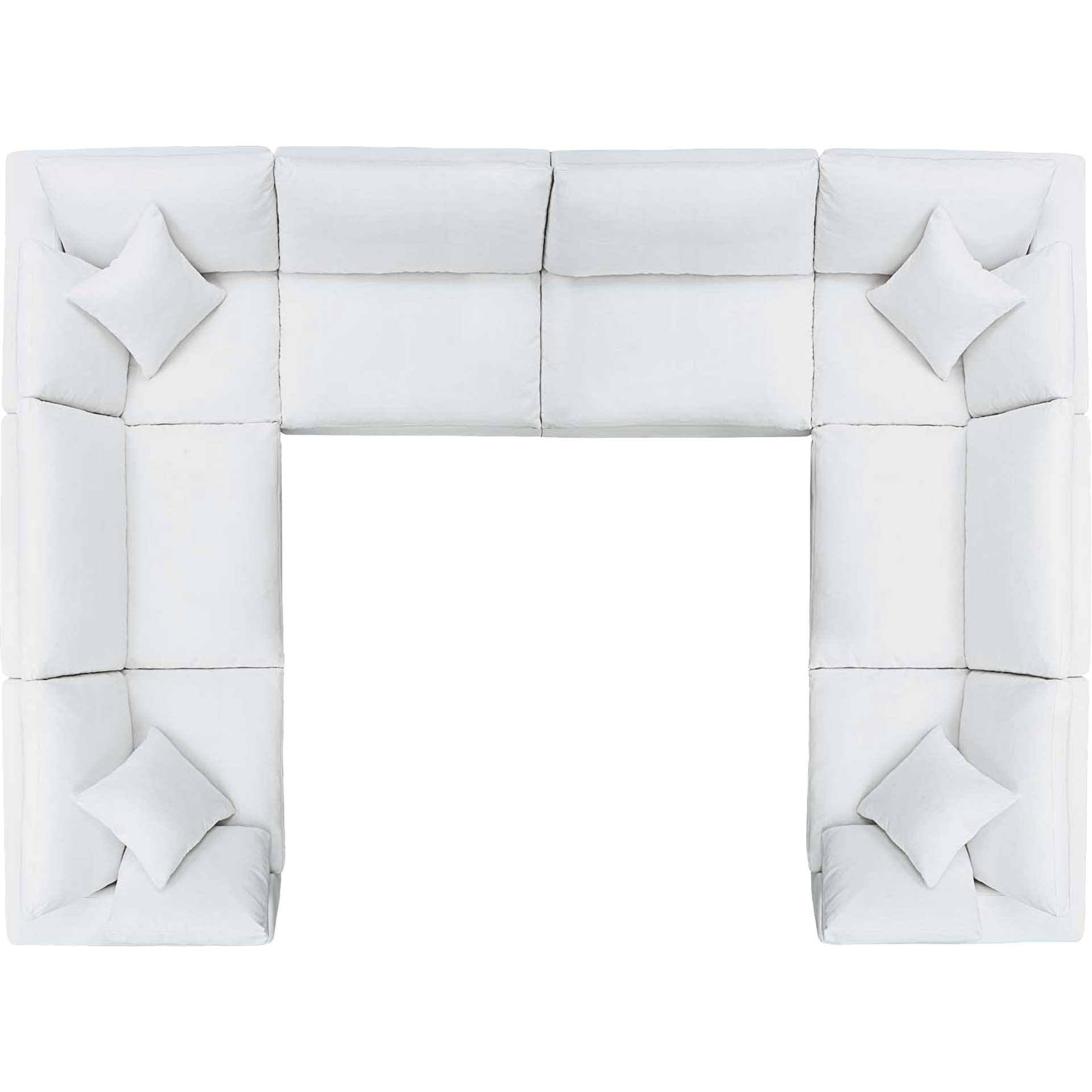 Carmen U-Shaped Sectional Sofa White