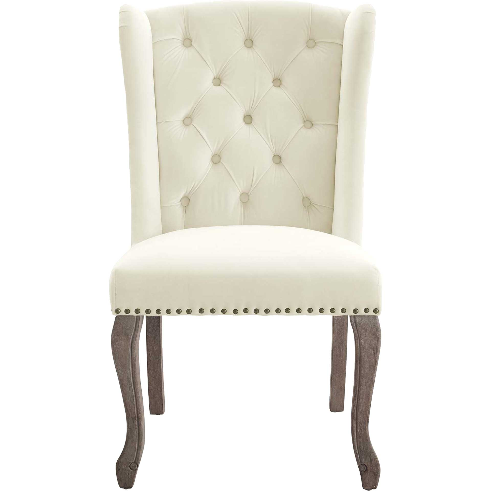 Andy Velvet Side Chair Ivory