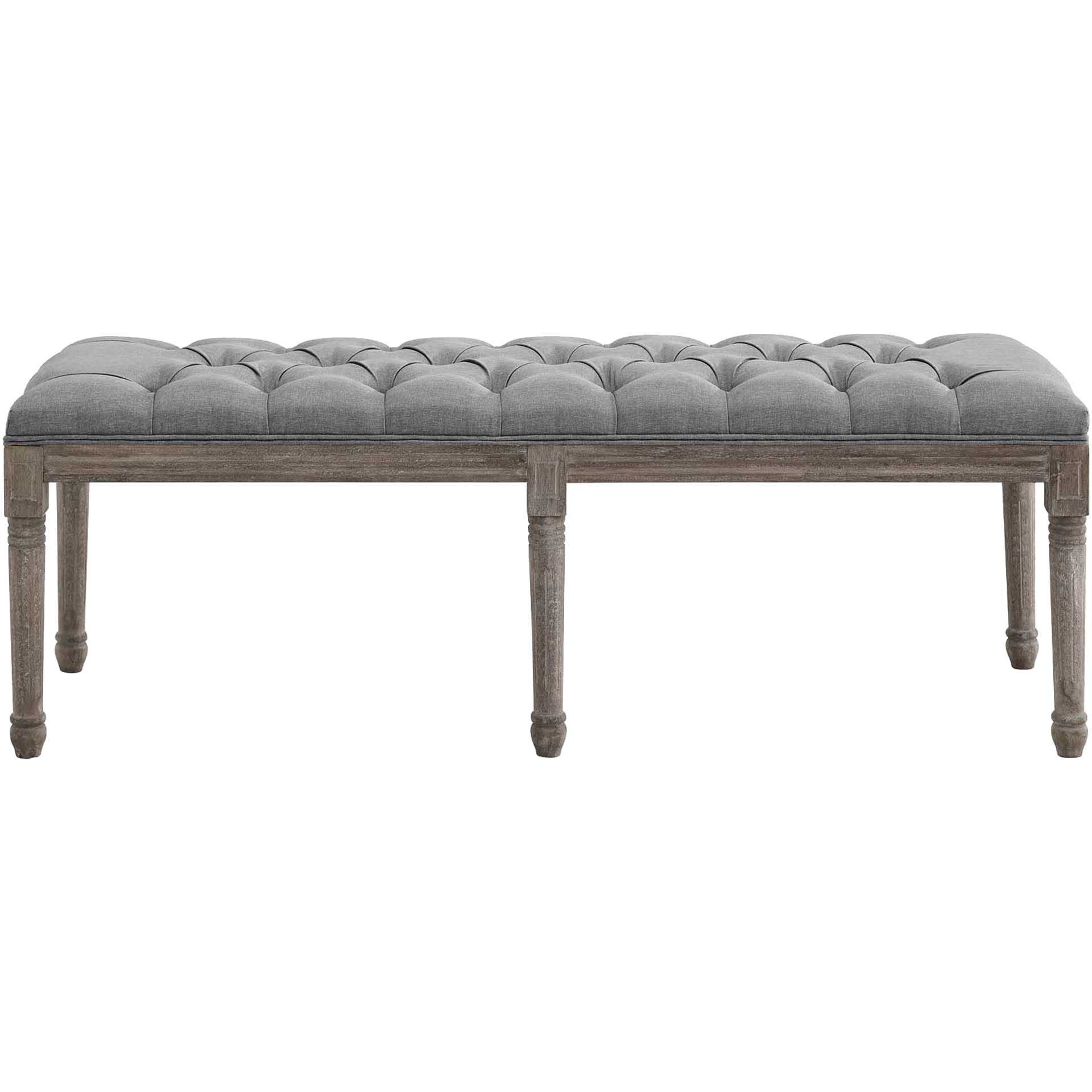 Park Upholstered Fabric Bench Light Gray