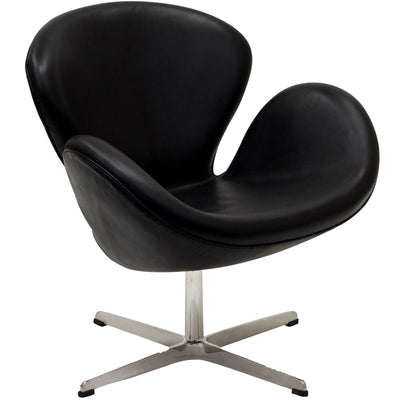 Wind Leather Lounge Chair Black
