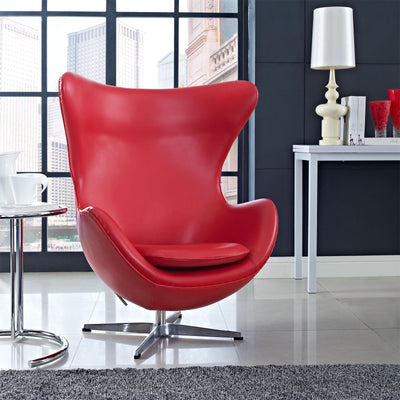 Grand Leather Lounge Chair Red