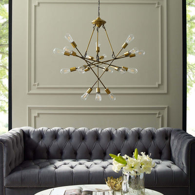 Roselyn 18 Light Pendant Chandelier Brass Gold