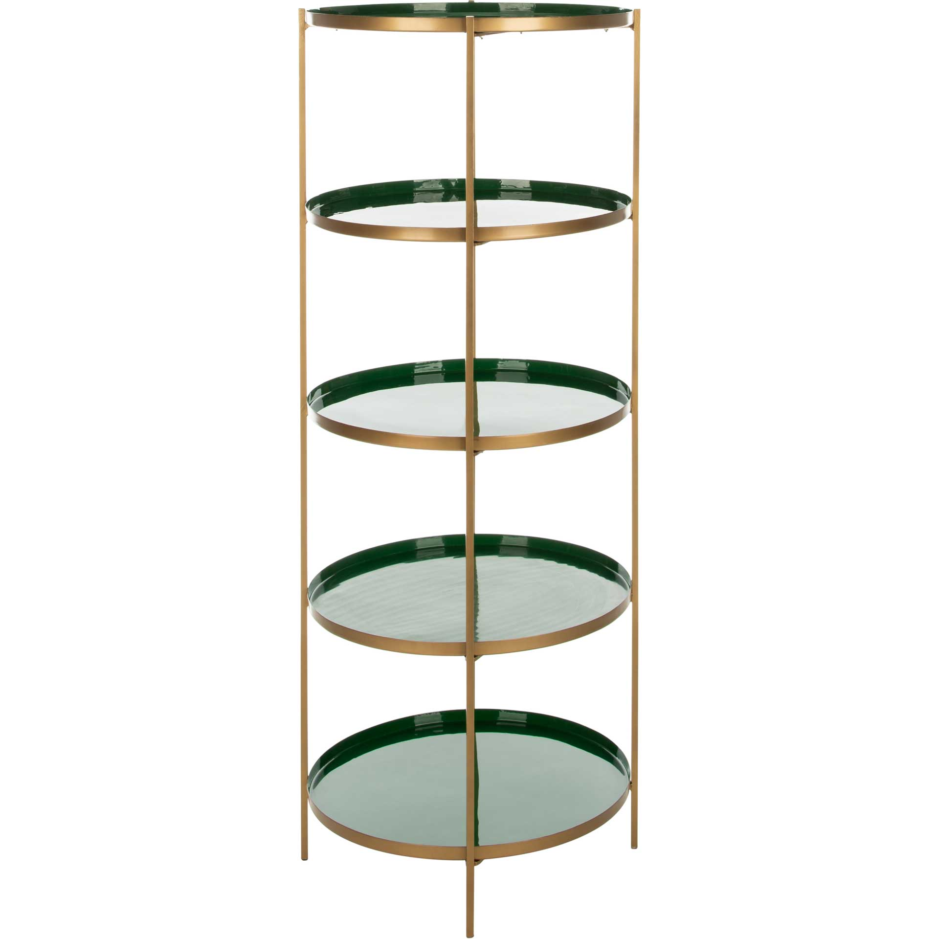 Tiana Round 5 Tier Etagere Hunter Green/Brass