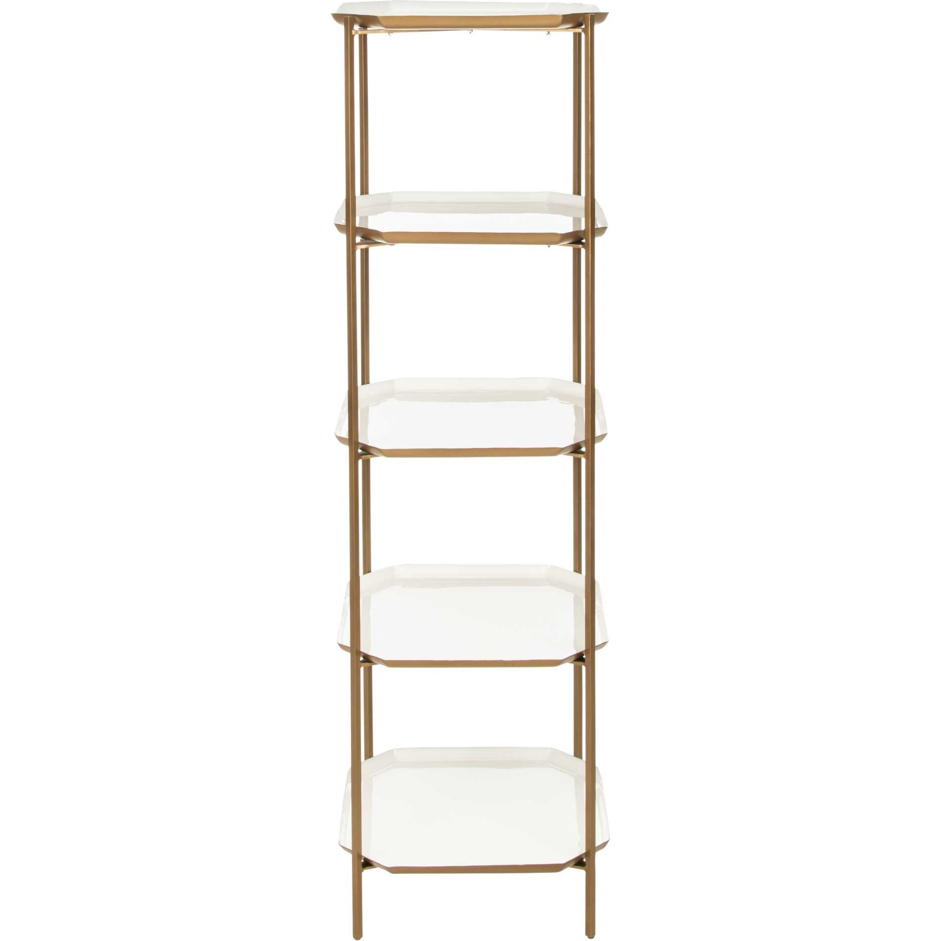 Sybella 5 Tier Etagere White/Brass