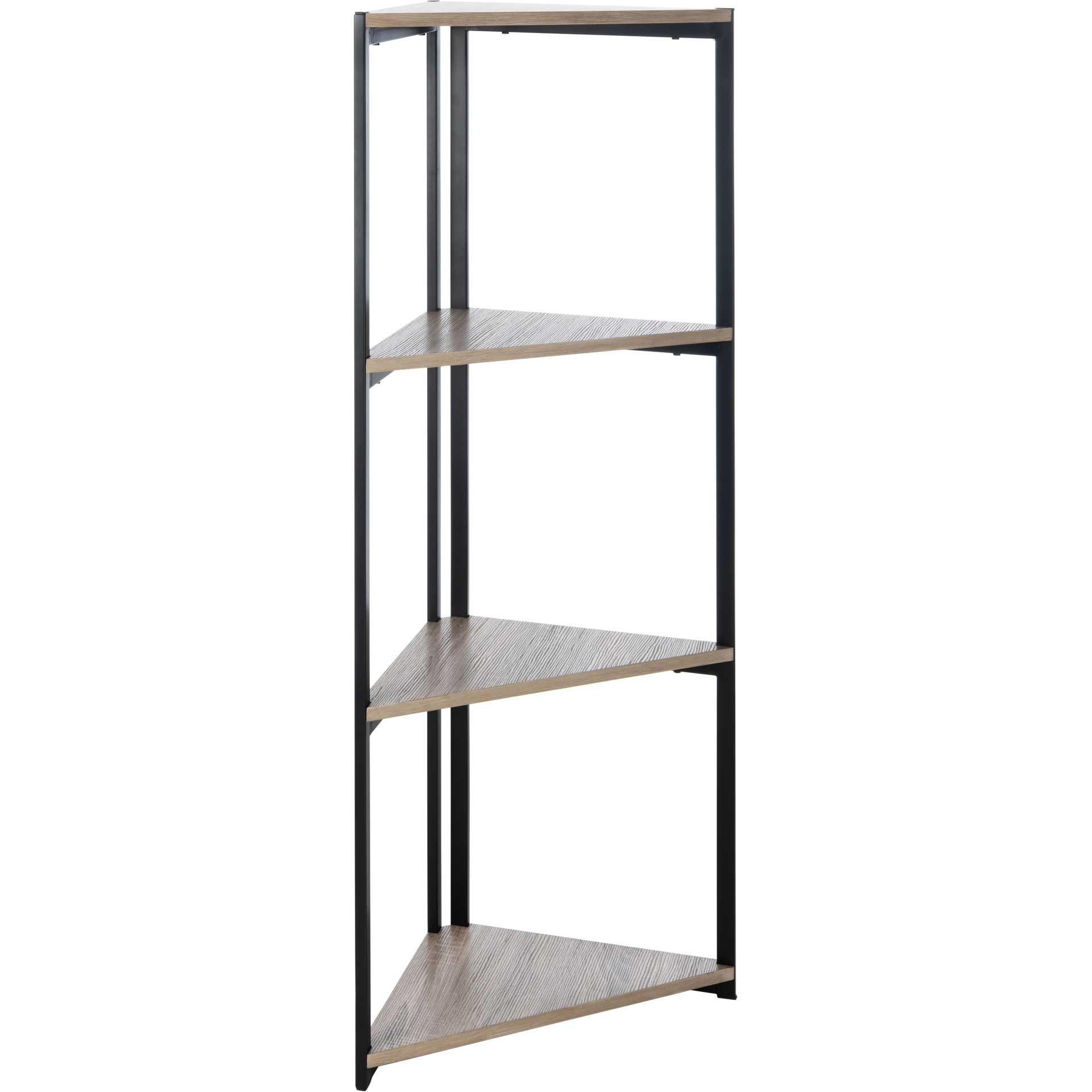 Lodge 4 Tier Corner Bookshelf Light Gray/Black